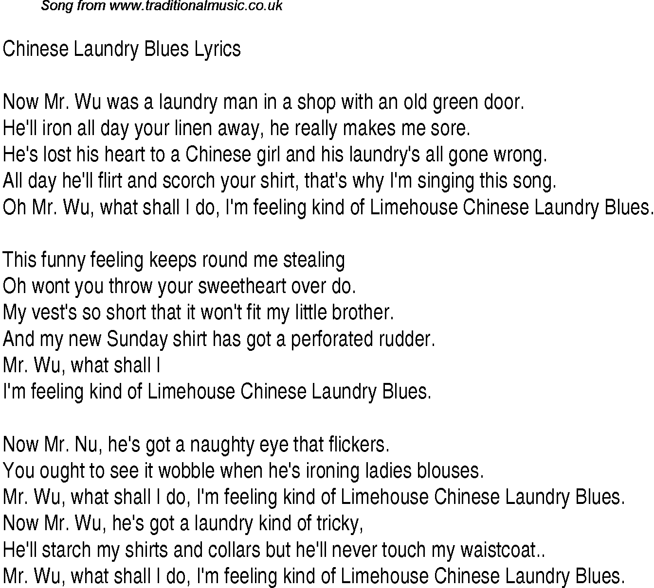 1940s top songs lyrics for chinese laundry blues george formby. Black Bedroom Furniture Sets. Home Design Ideas