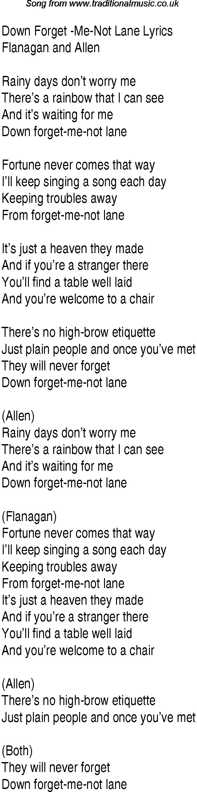 1940s top songs lyrics for down forget me not lane flanagan allen