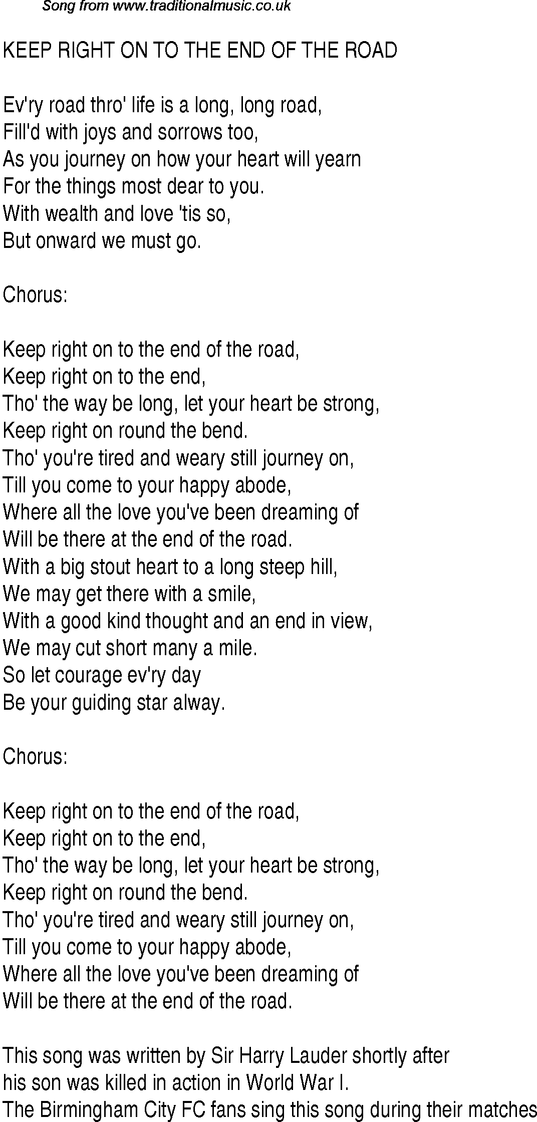 1940s Top Songs: lyrics for Keep Right On To The End Of The Road