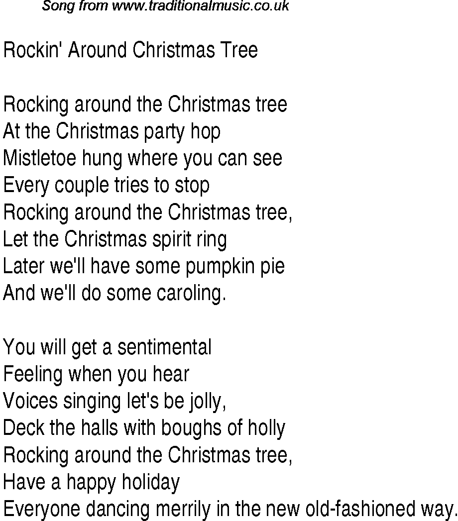 1940s Top Songs: lyrics for Rockin' Around Christmas Tree