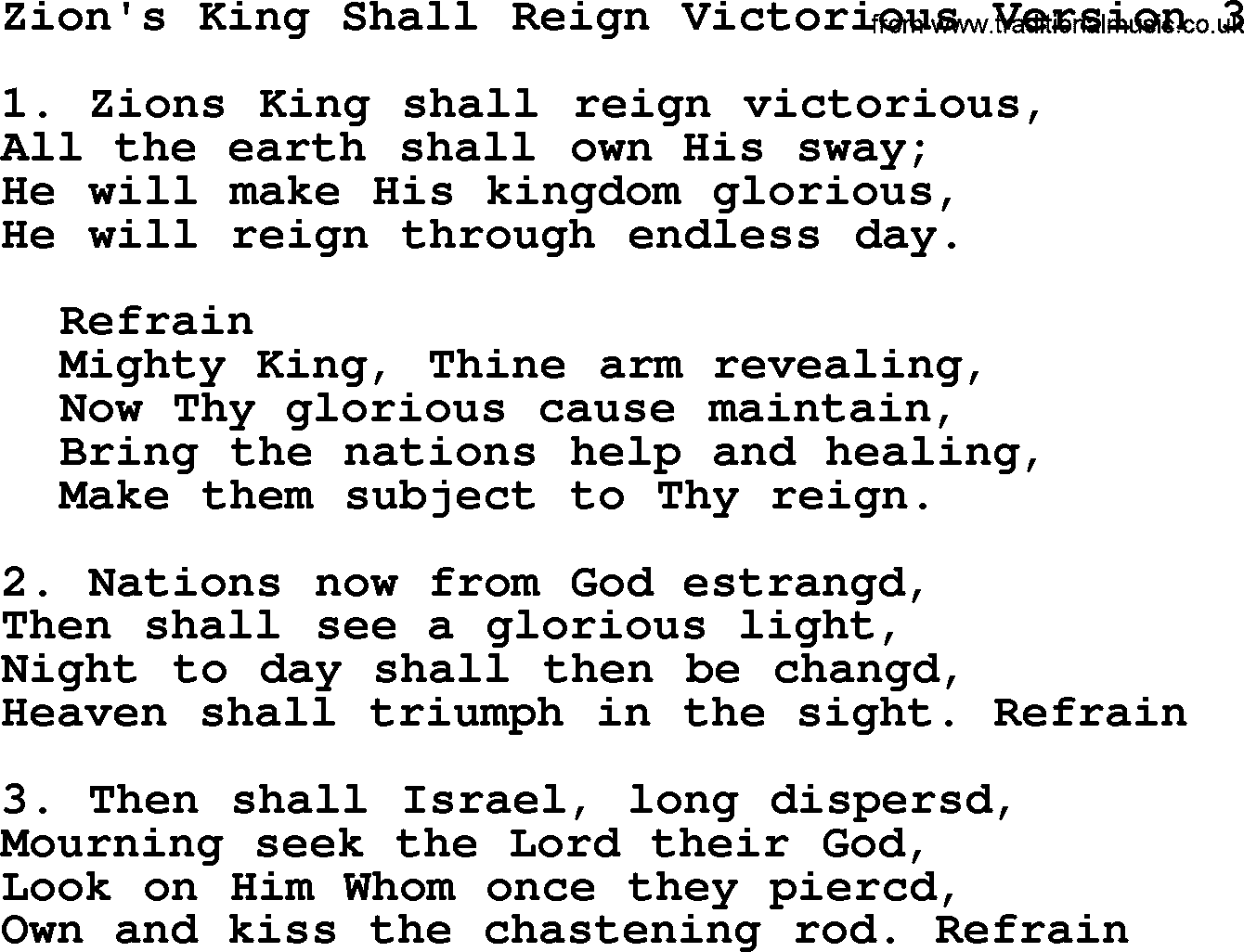 advent hymns song zion 39 s king shall reign victorious 3. Black Bedroom Furniture Sets. Home Design Ideas