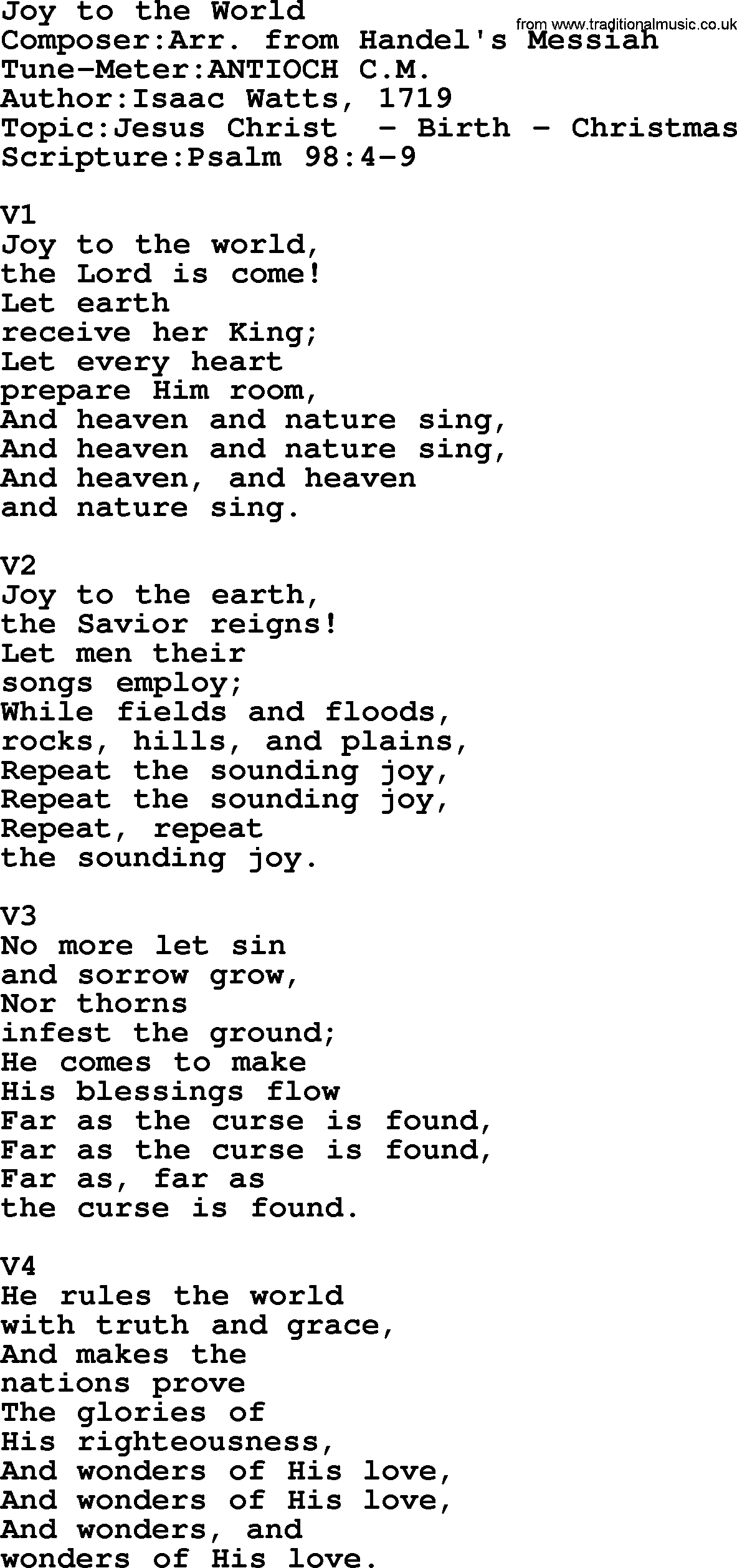 Adventist Hymn: Joy To The World - Christian Song lyrics, with PDF