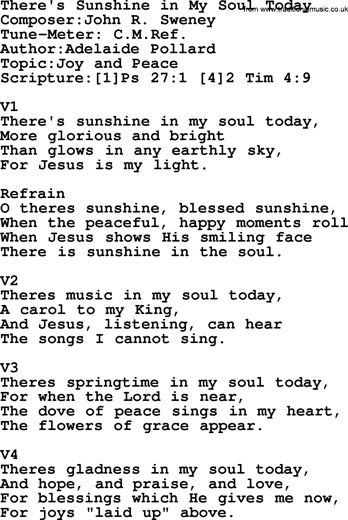 Adventist Hymn Theres Sunshine In My Soul Today Christian Song