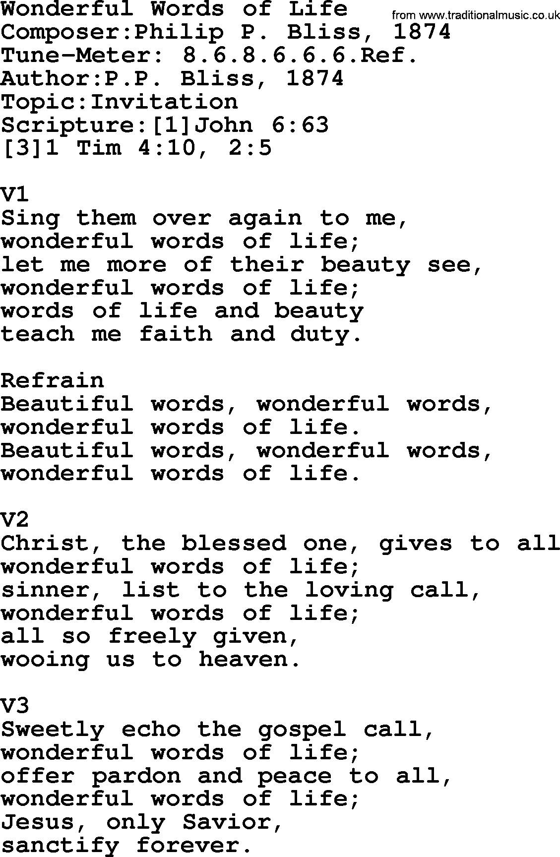Adventist Hymn: Wonderful Words Of Life - Christian Song lyrics, with PDF