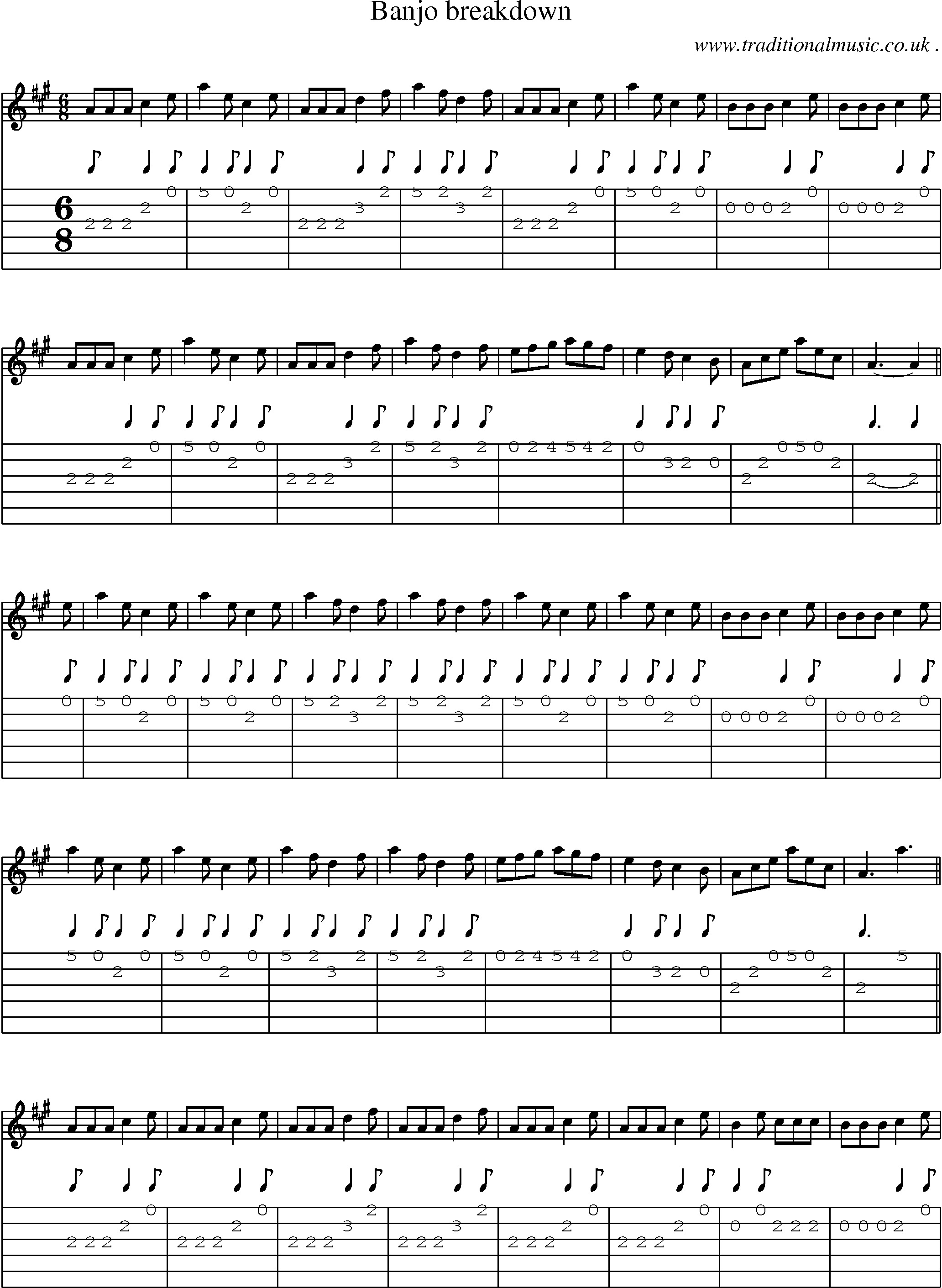 American Old-time music, Scores and Tabs for Guitar - Banjo Breakdown