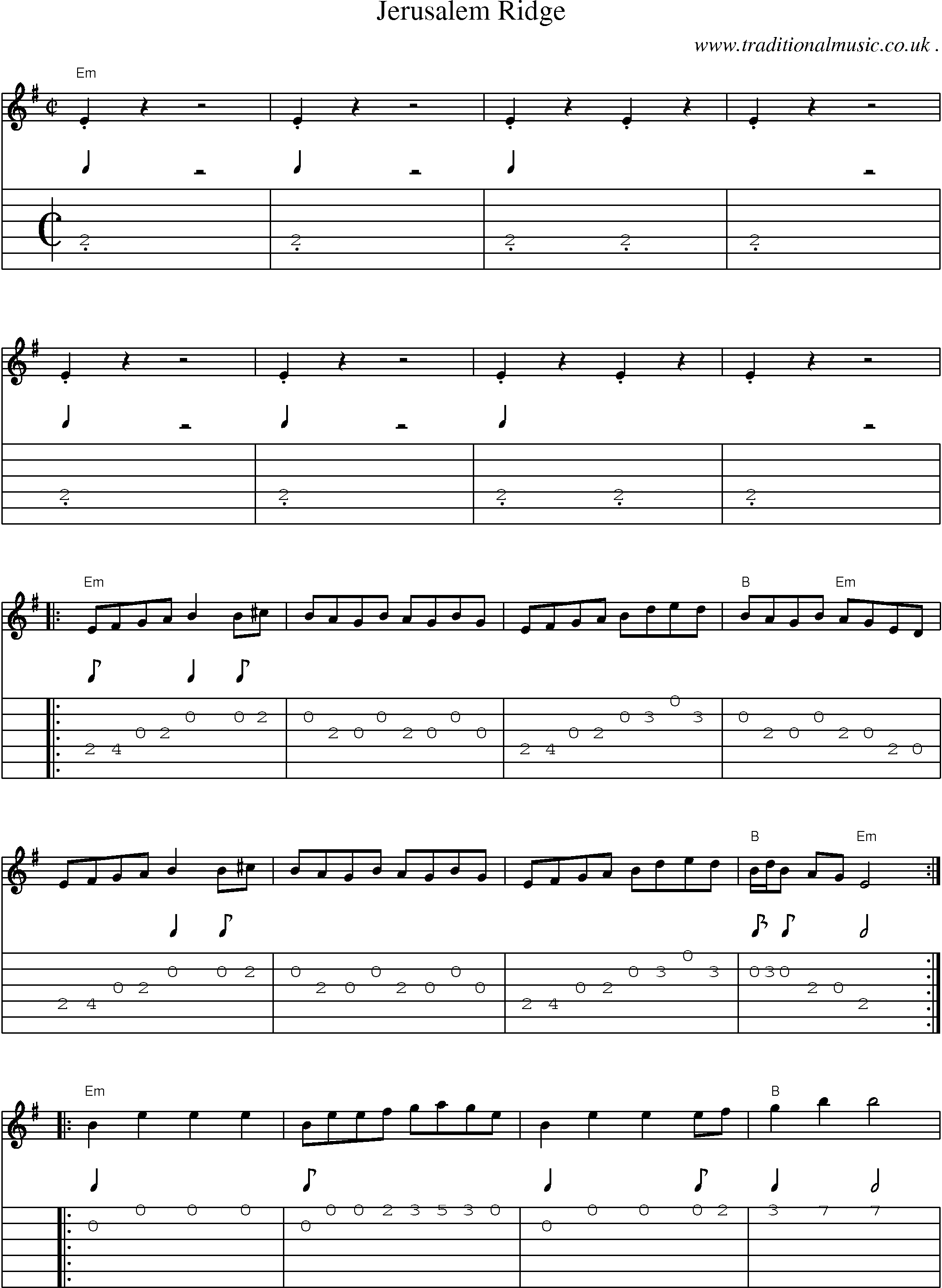 American old time music scores and tabs for guitar jerusalem ridge music score and guitar tabs for jerusalem ridge hexwebz Gallery