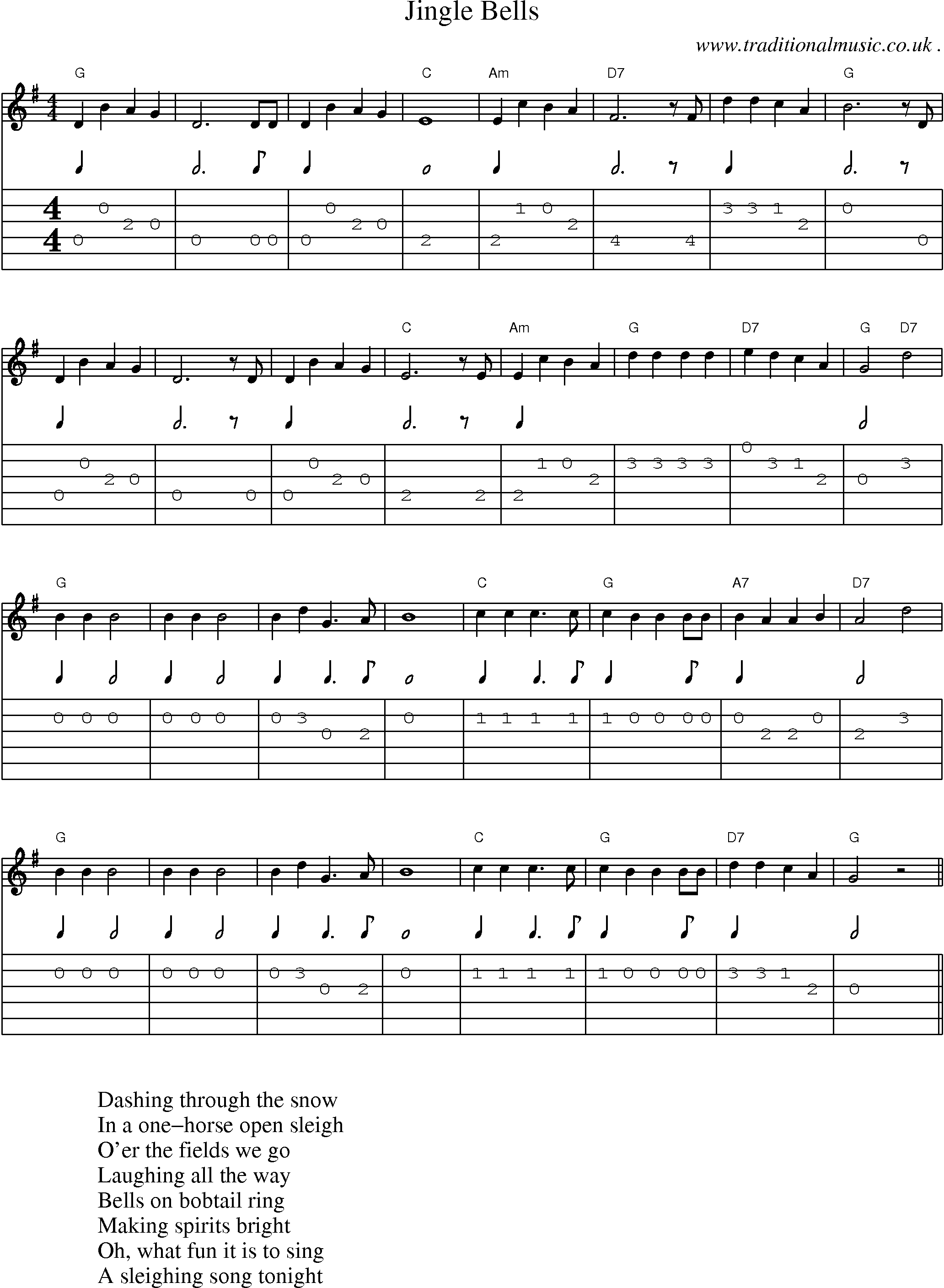 American Old-time music, Scores and Tabs for Guitar - Jingle Bells