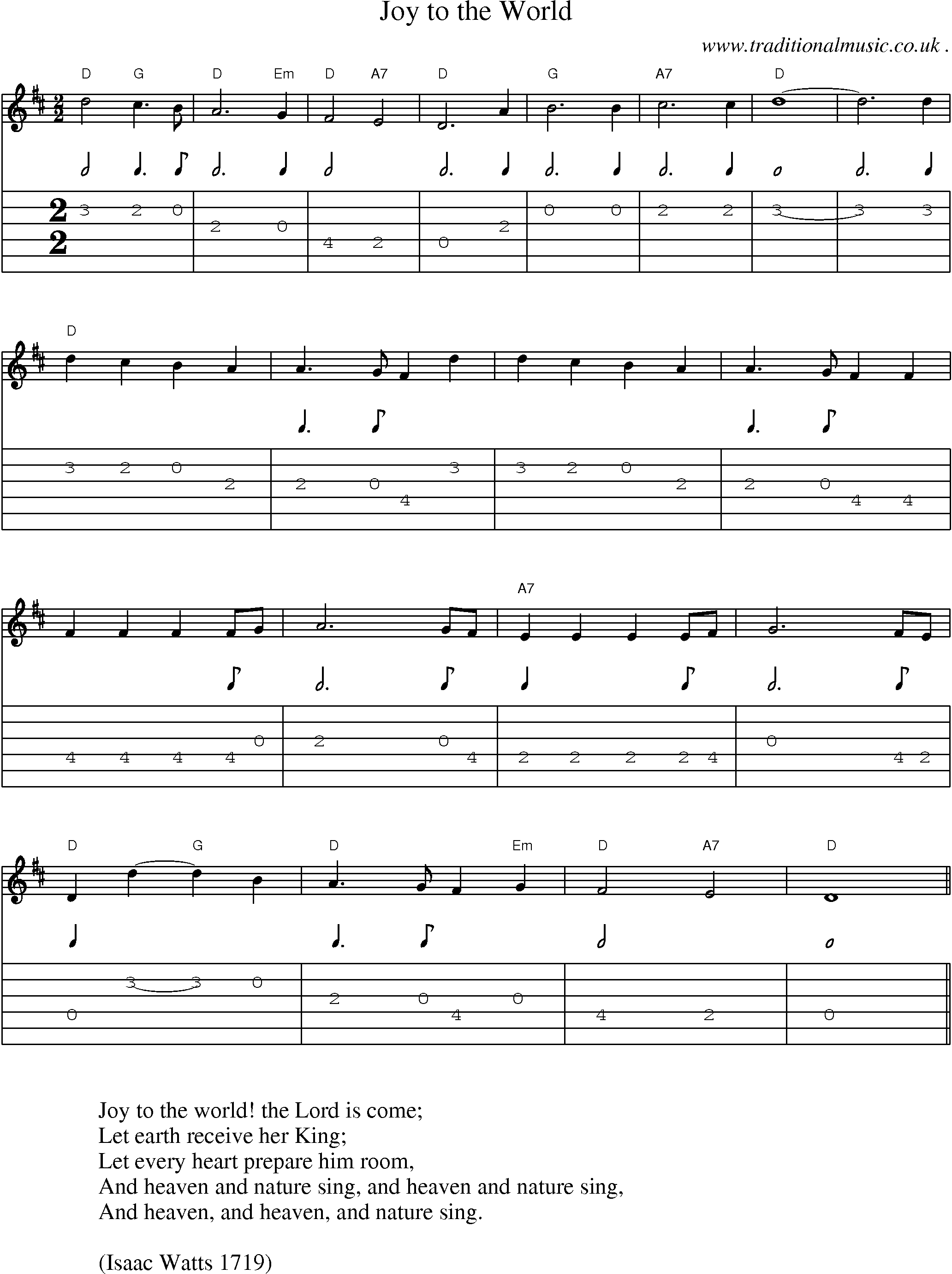 American Old-time music, Scores and Tabs for Guitar - Joy To The World