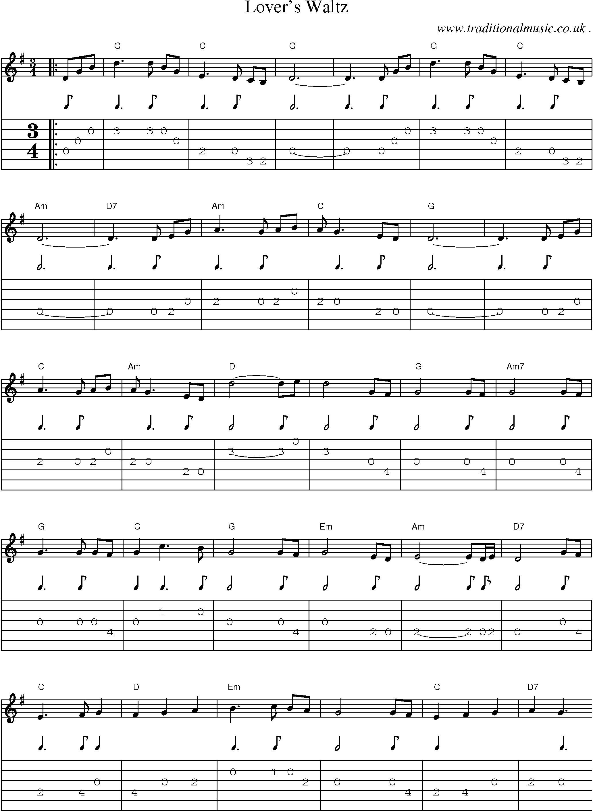 American Old Time Music Scores And Tabs For Guitar Lovers Waltz
