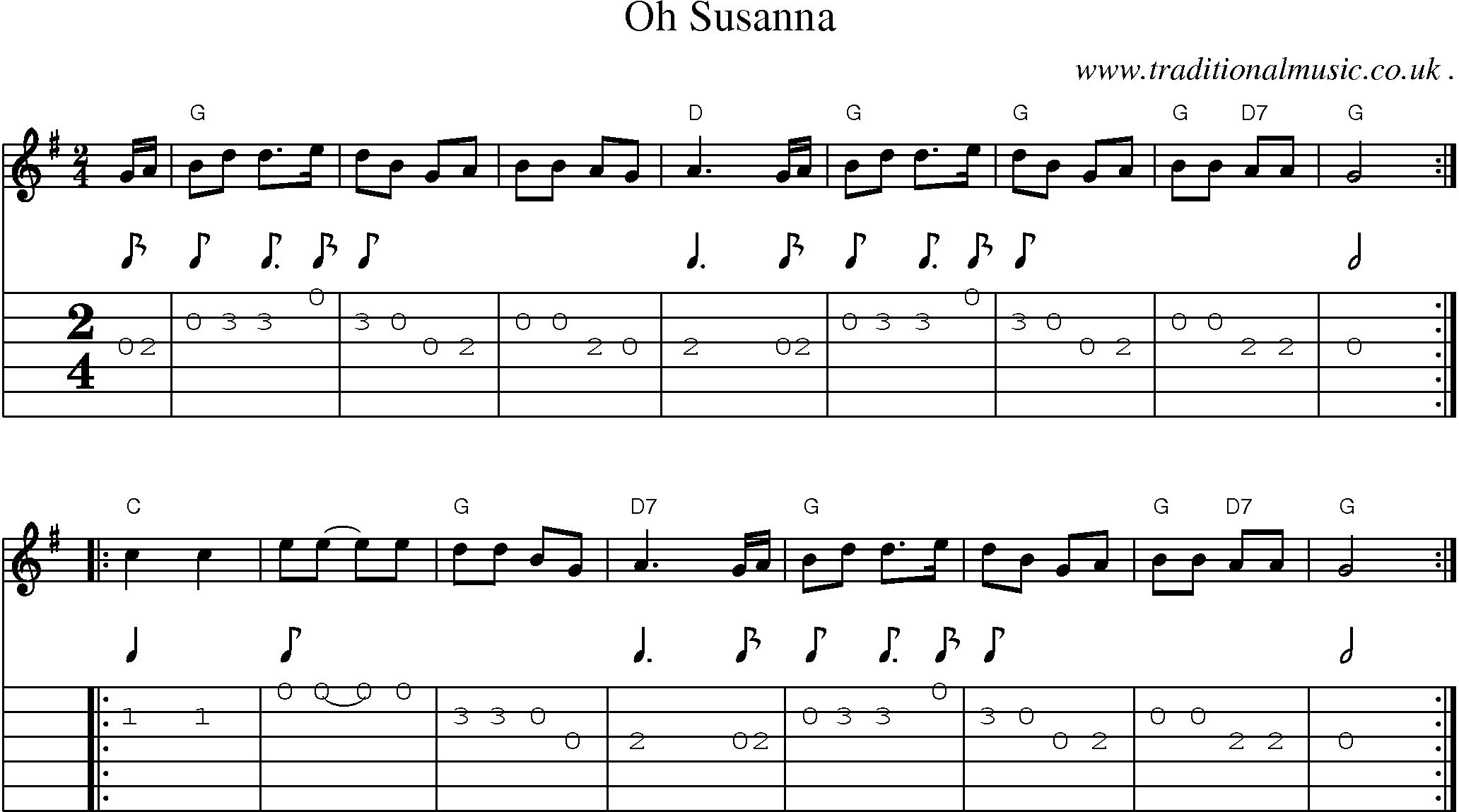 American Old Time Music Scores And Tabs For Guitar Oh Susanna