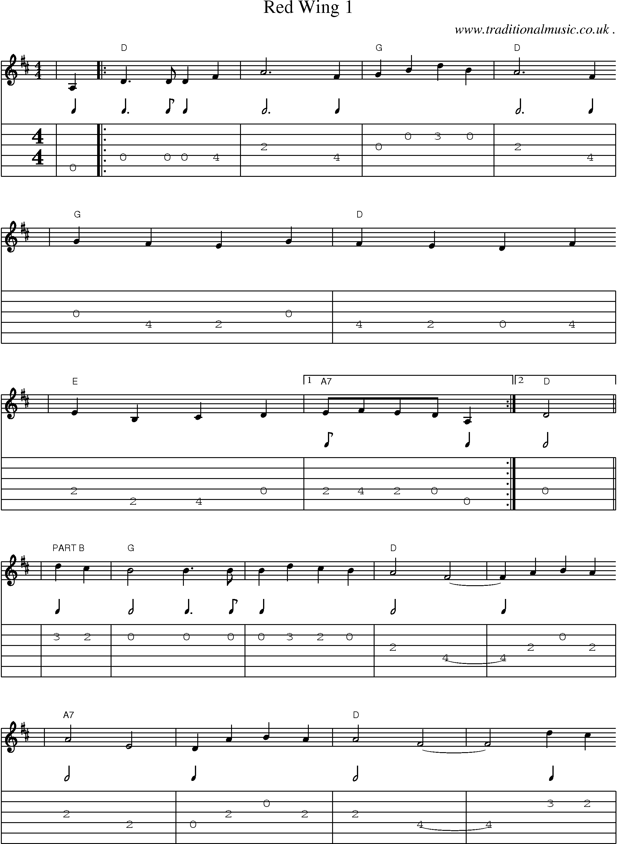 American Old Time Music Scores And Tabs For Guitar Red Wing 1