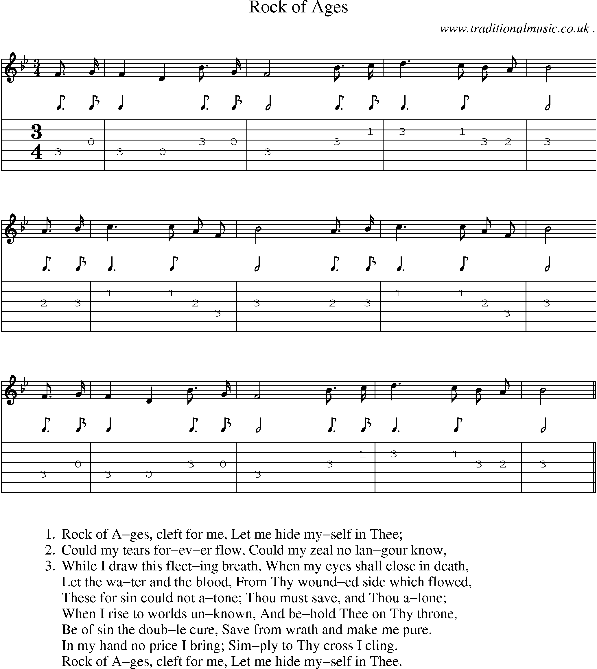 American Old-time music, Scores and Tabs for Guitar - Rock Of Ages