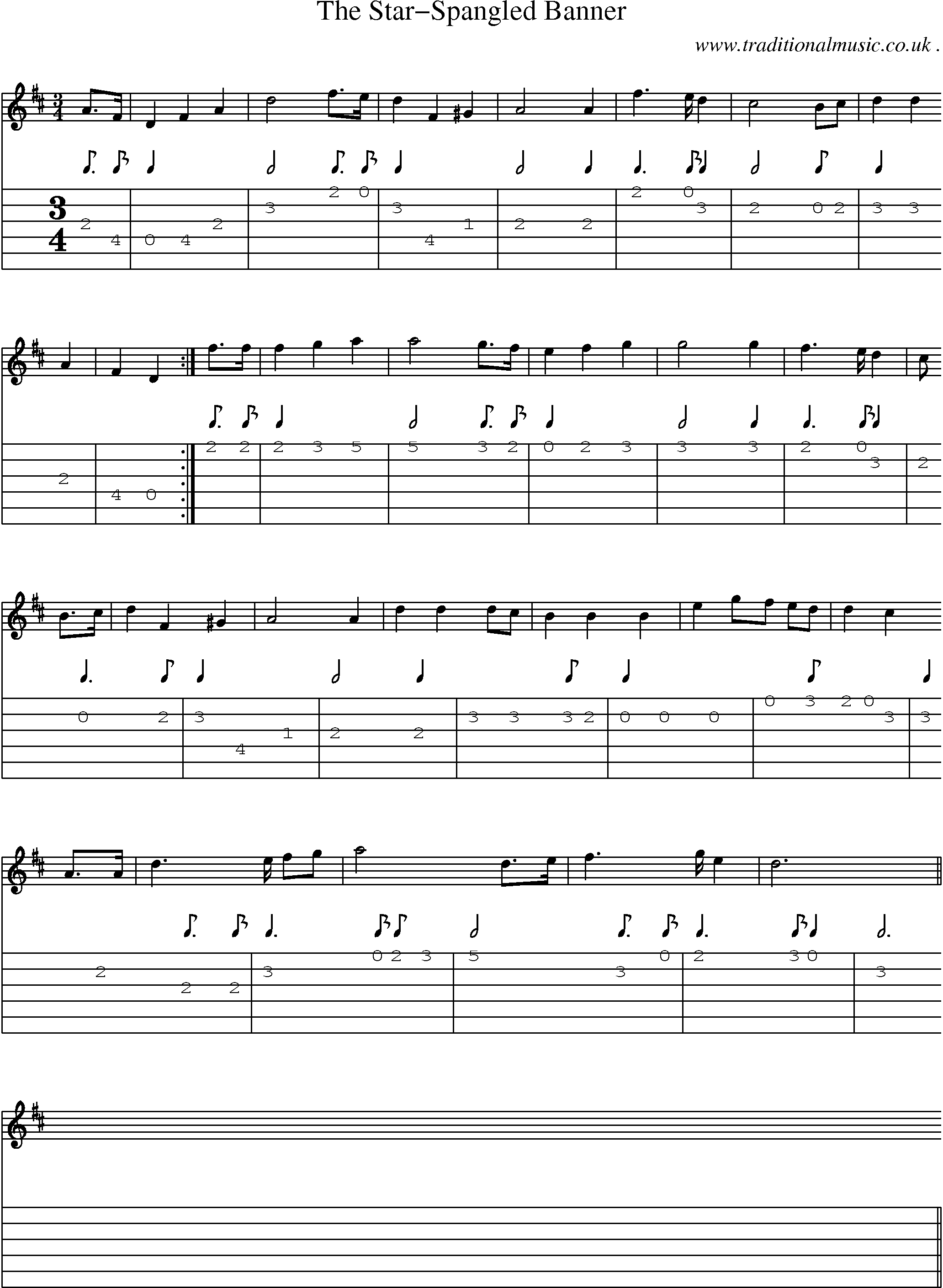 American Old Time Music Scores And Tabs For Guitar The Star