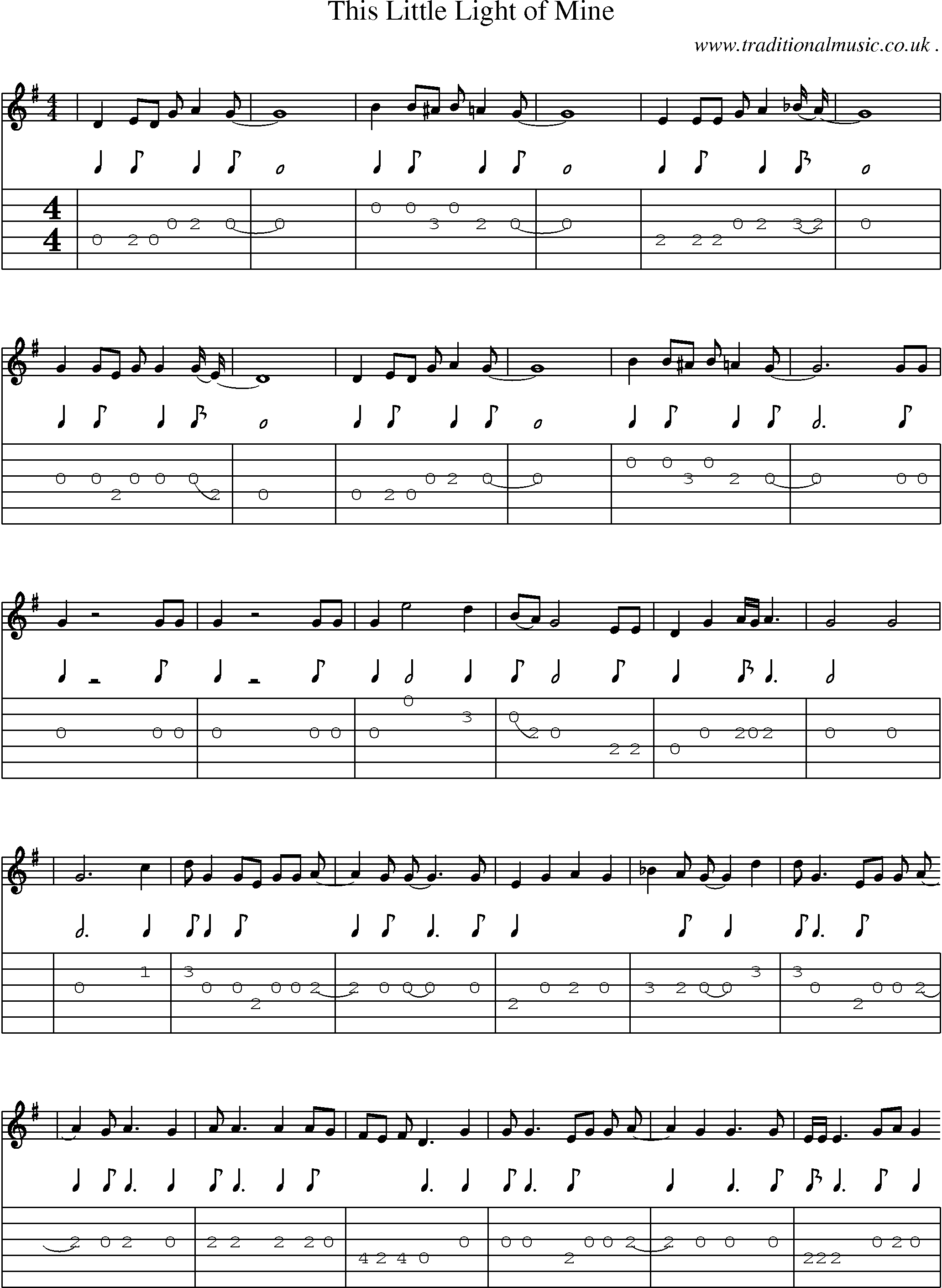 American Old-time music, Scores and Tabs for Guitar - This Little Light Of Mine