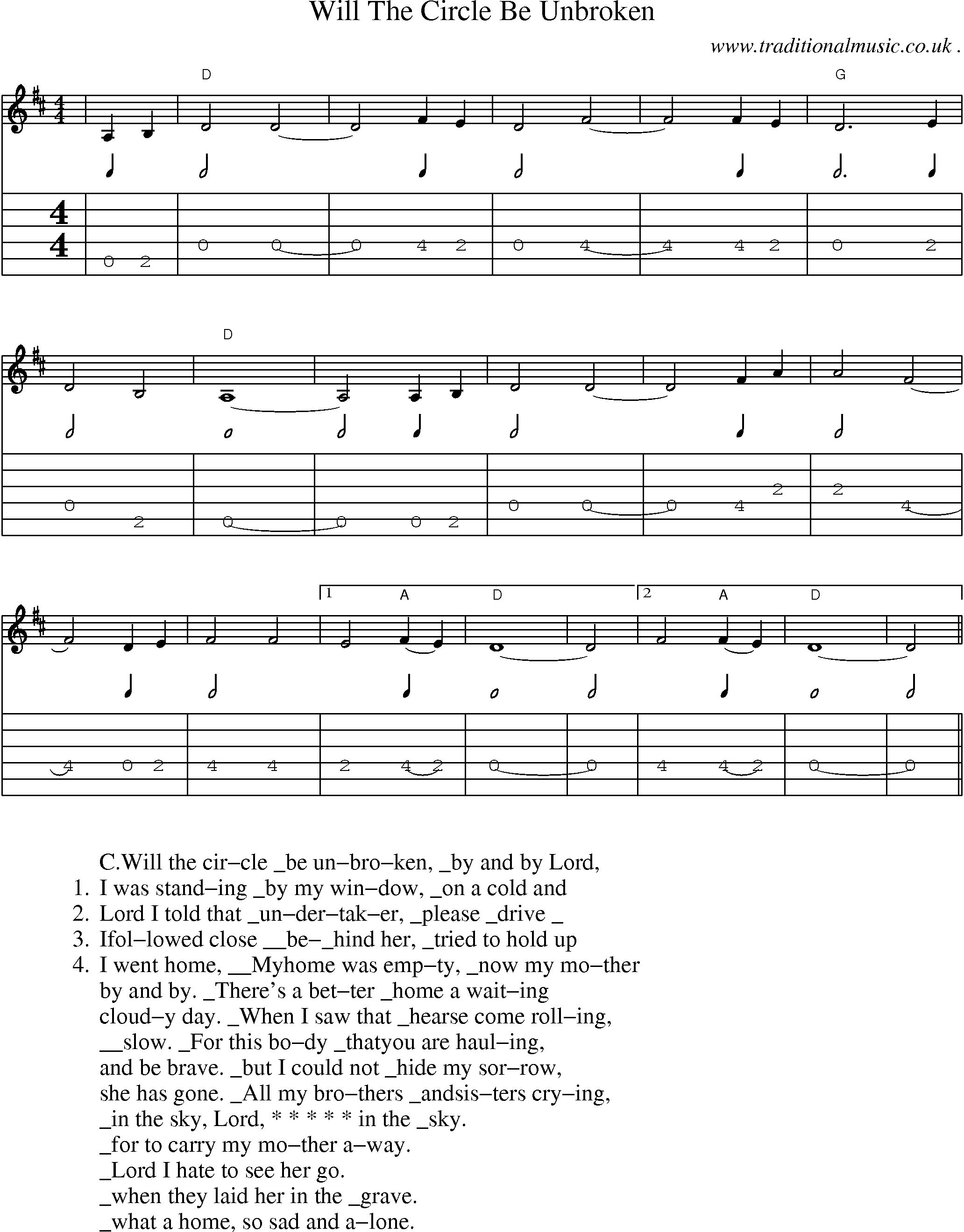 American Old Time Music Scores And Tabs For Guitar Will The
