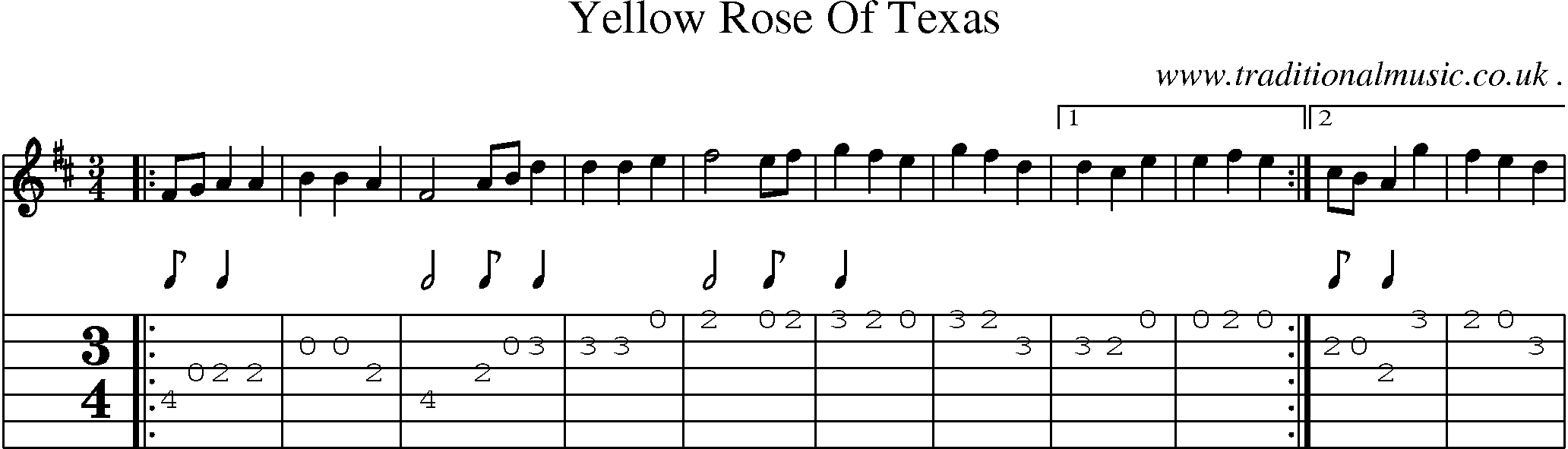 American Old-time music, Scores and Tabs for Guitar - Yellow Rose Of Texas