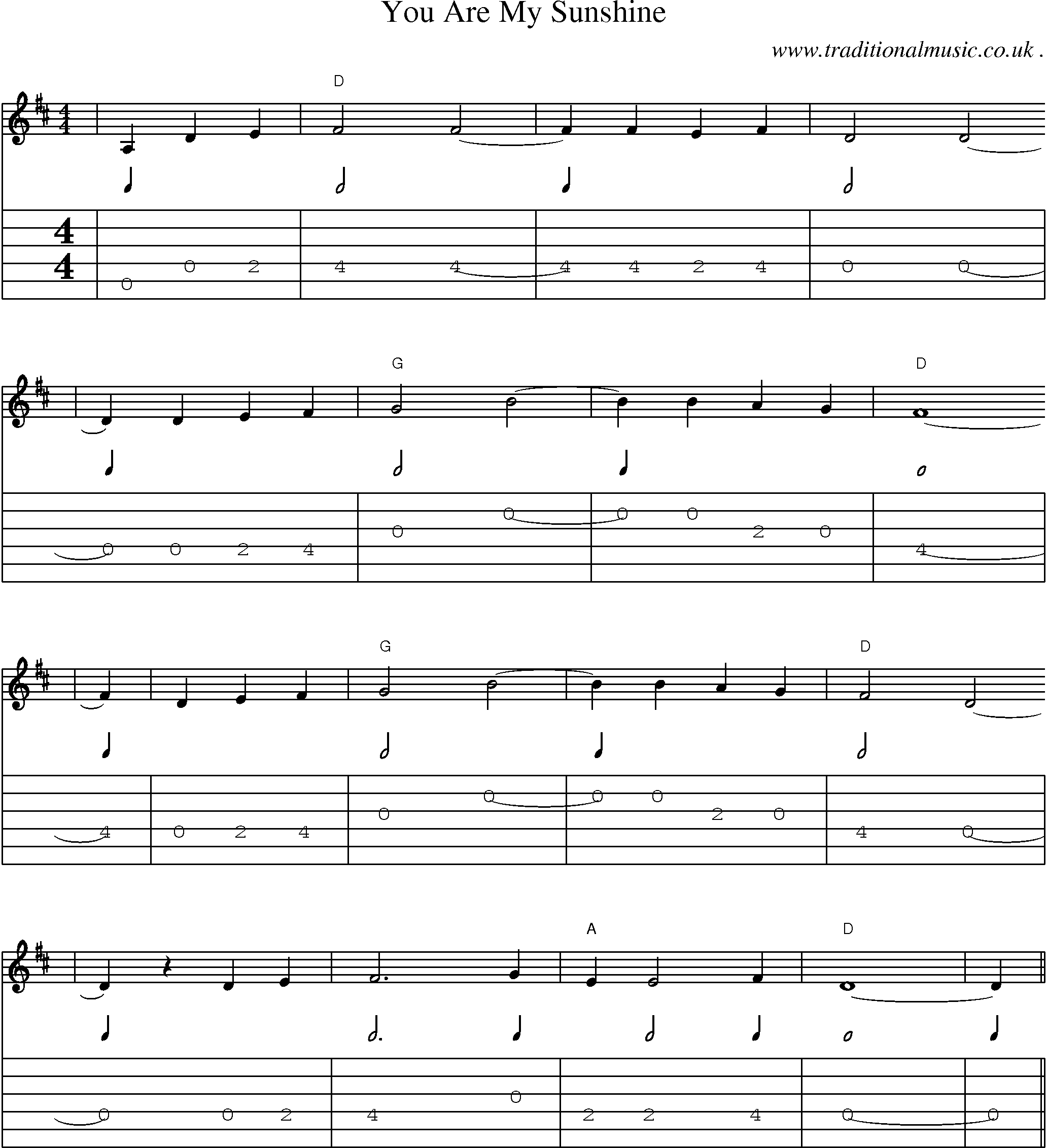 American Old-time music, Scores and Tabs for Guitar - You Are My Sunshine