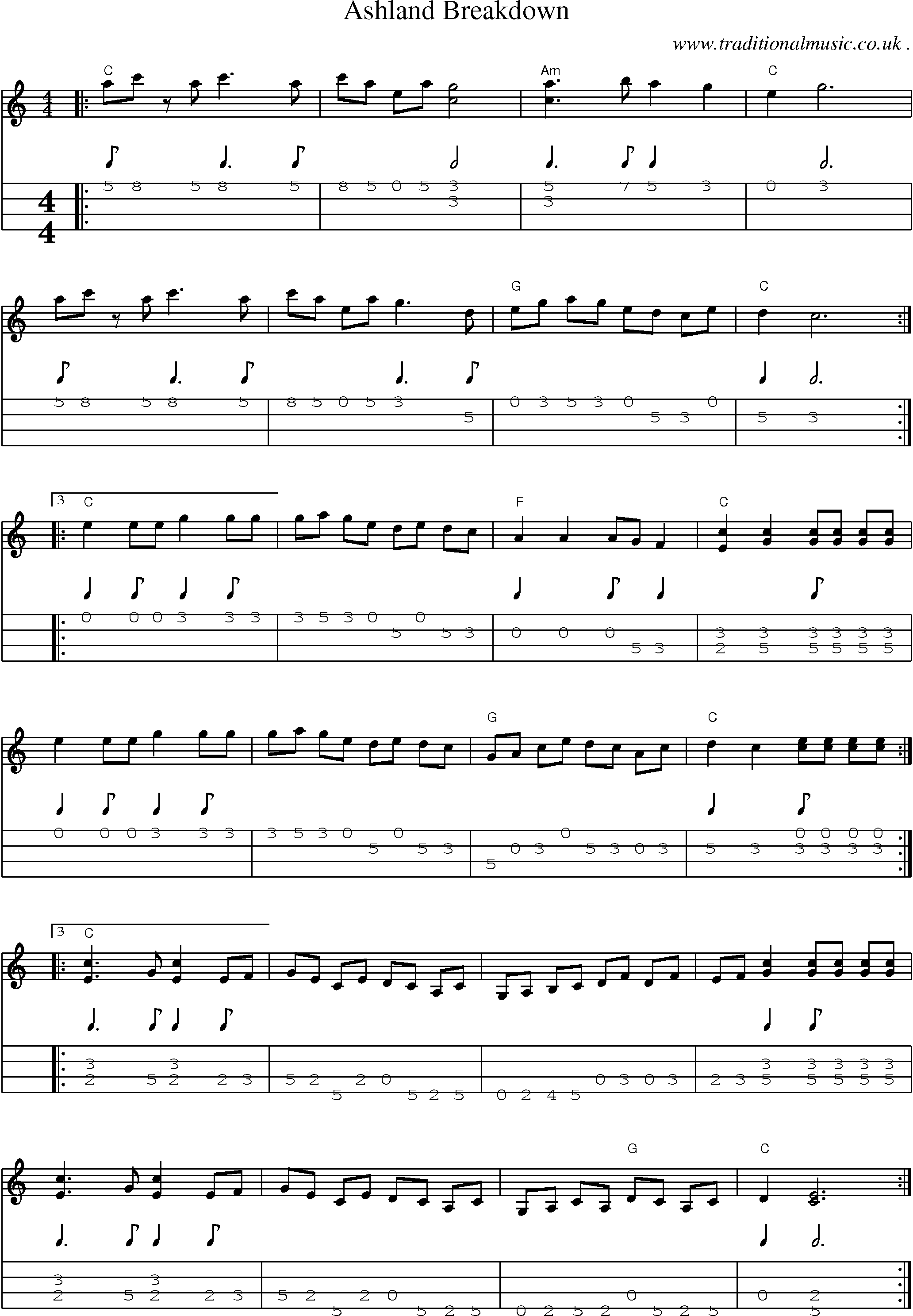 American Old Time Music Scores And Tabs For Mandolin Ashland