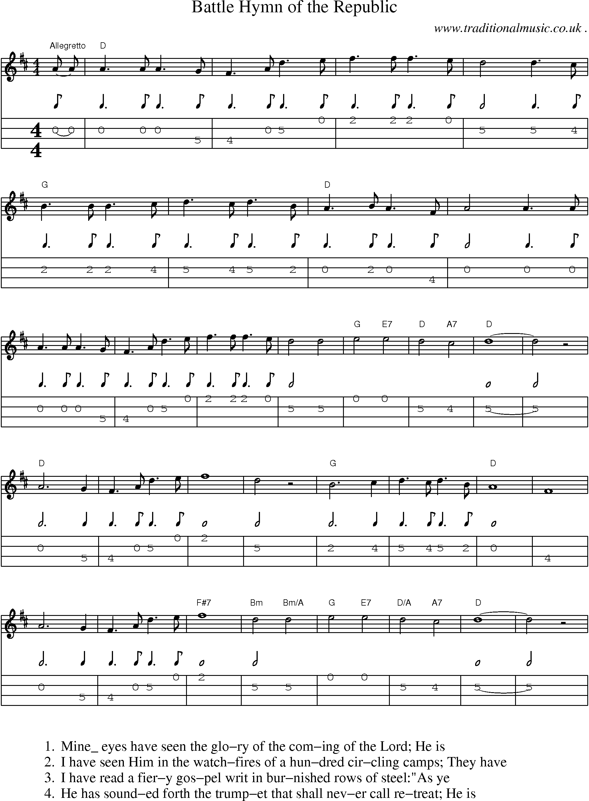 American Old-time music, Scores and Tabs for Mandolin - Battle Hymn Of The Republic