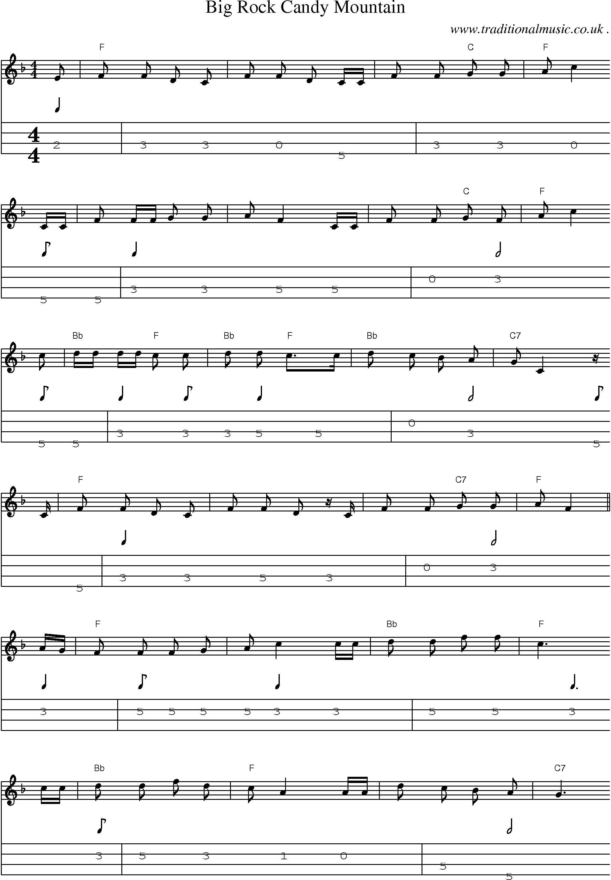 Old time music scores and tabs for mandolin big rock candy mountain