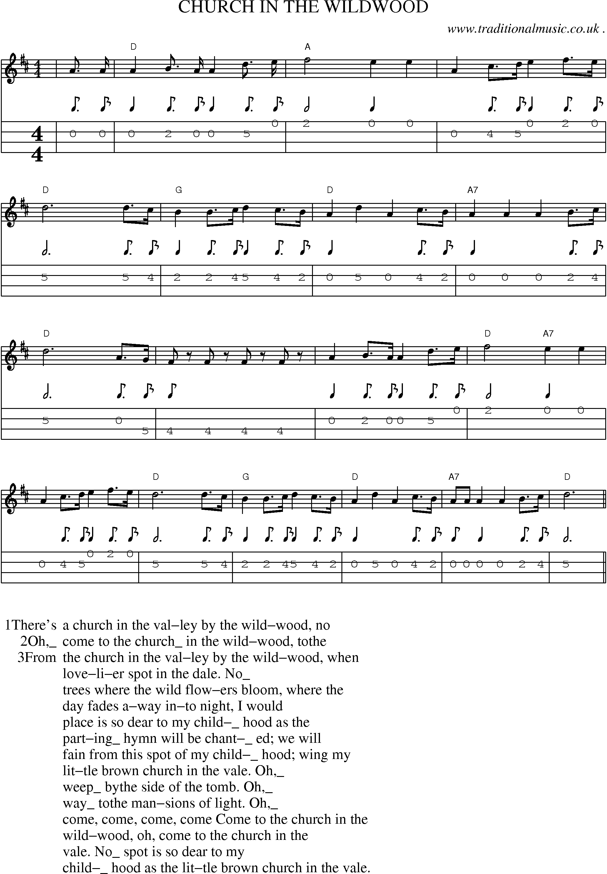 Old-Time Music mandolin tab - Church In The Wildwood