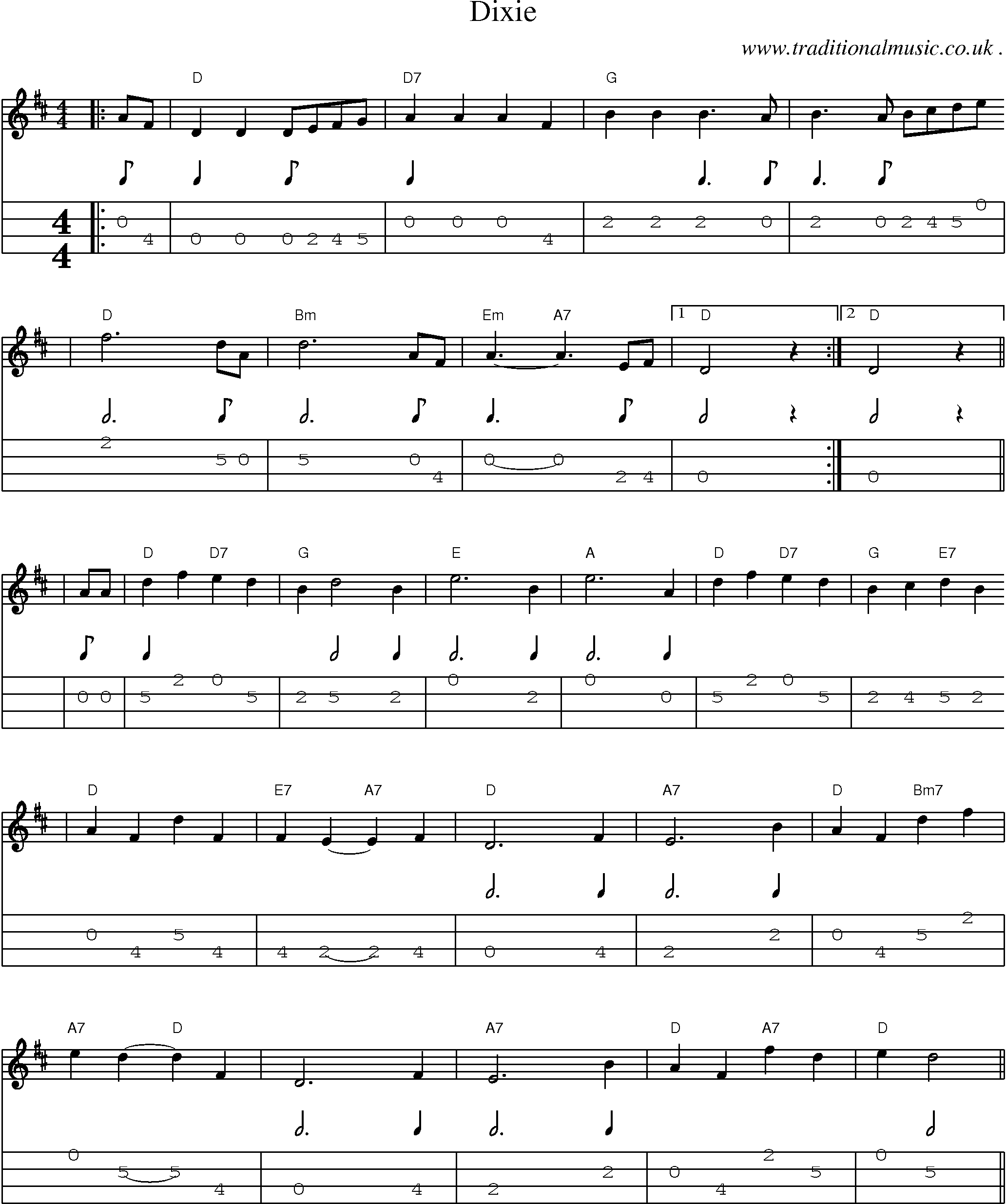 American Old-time music, Scores and Tabs for Mandolin - Dixie