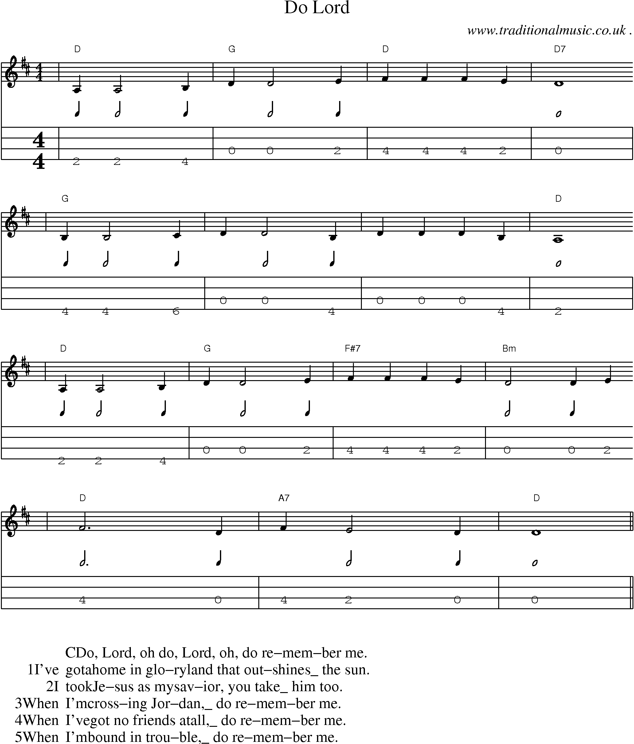American Old time music, Scores and Tabs for Mandolin   Do Lord