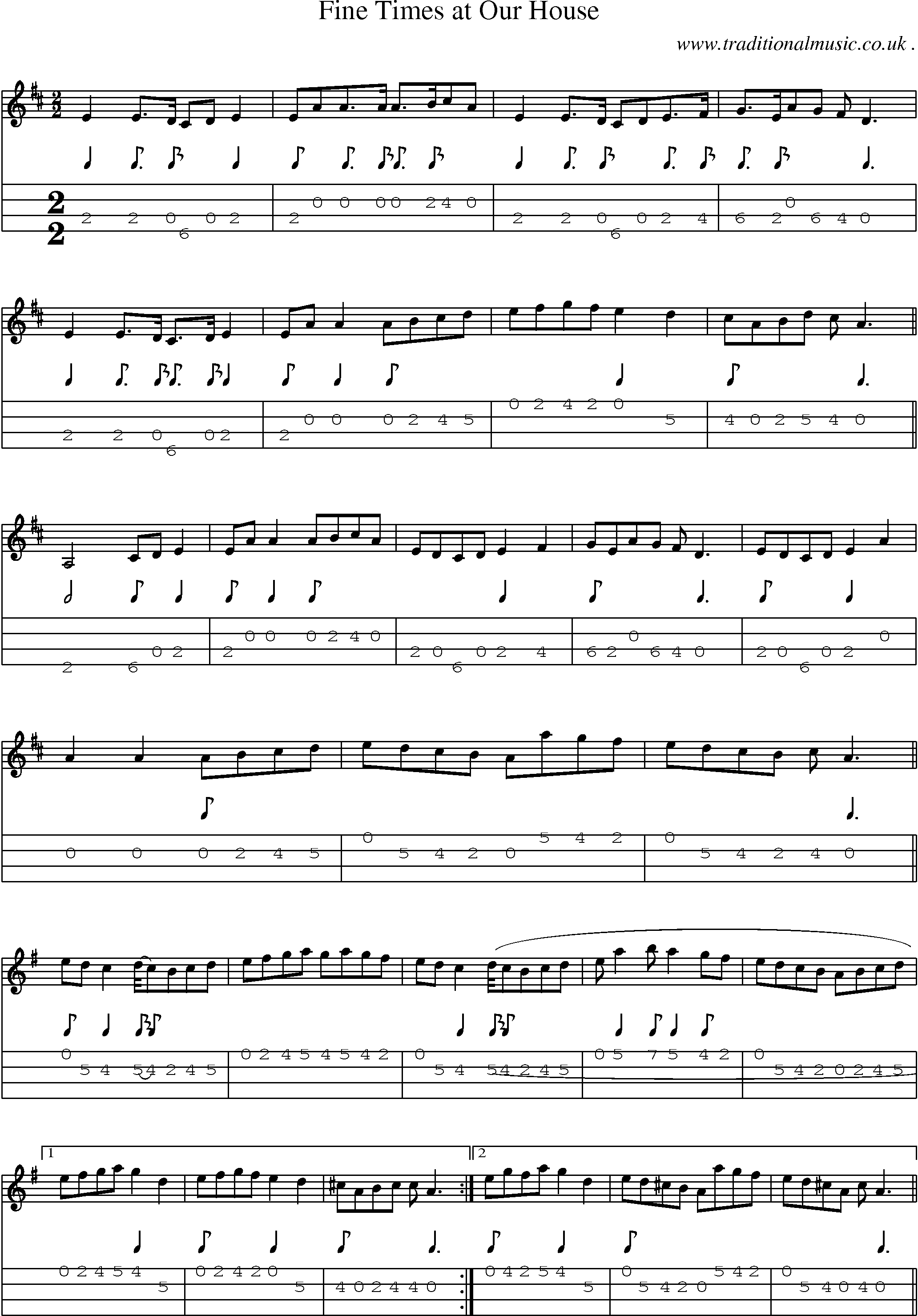Our house chords - Music Score And Mandolin Tabs For Fine Times At Our House