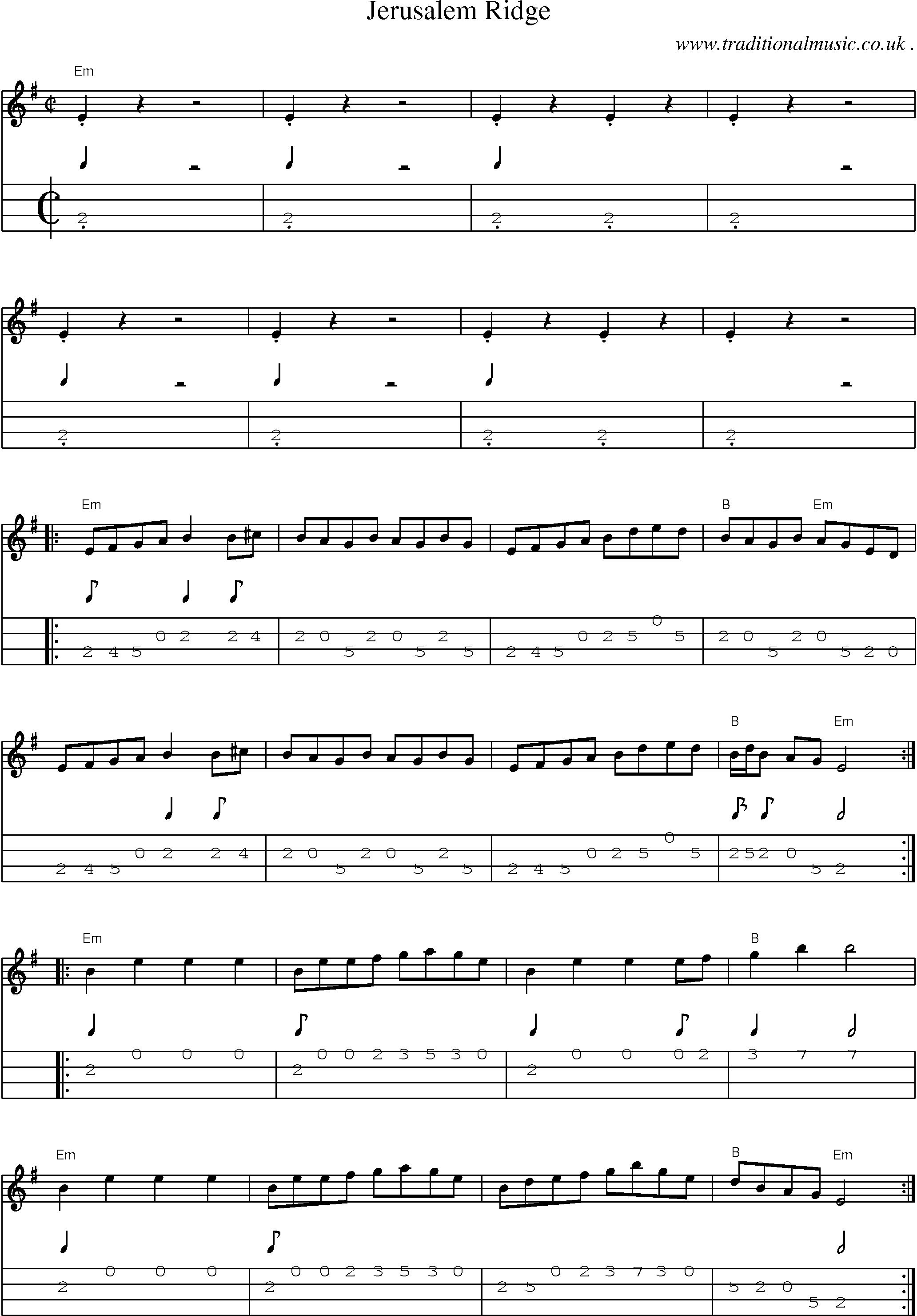 American Old-time music, Scores and Tabs for Mandolin - Jerusalem Ridge