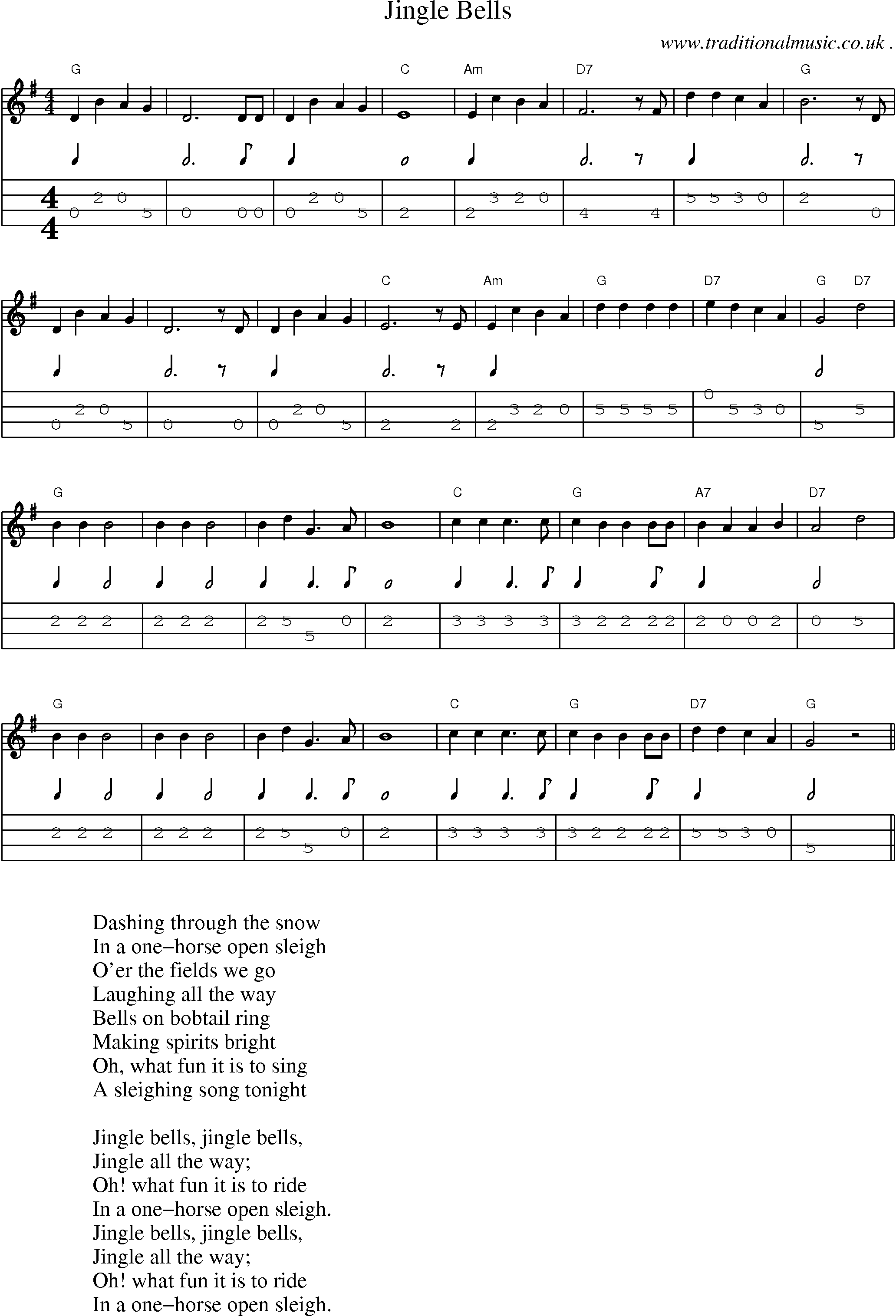 American Old-time music, Scores and Tabs for Mandolin - Jingle Bells