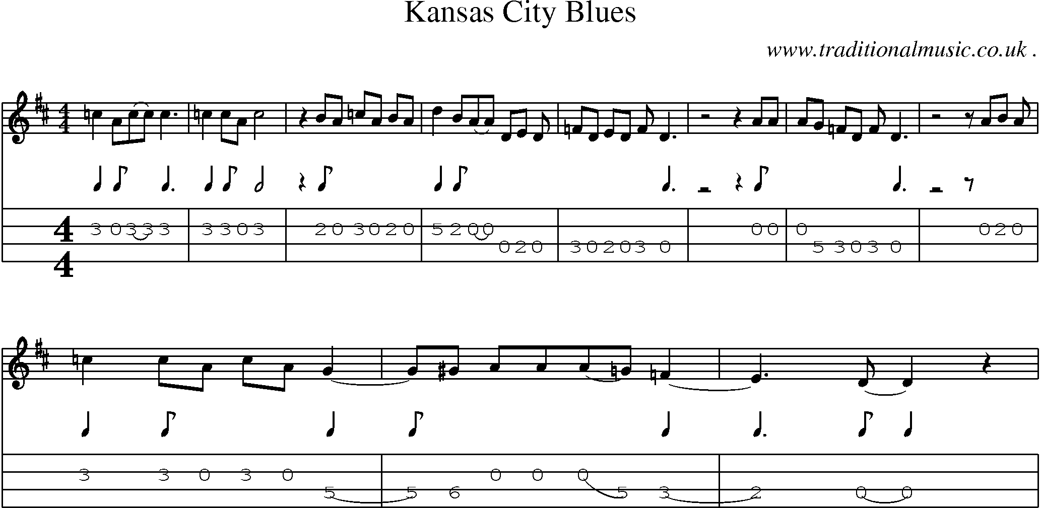 American Old-time music, Scores and Tabs for Mandolin - Kansas City Blues