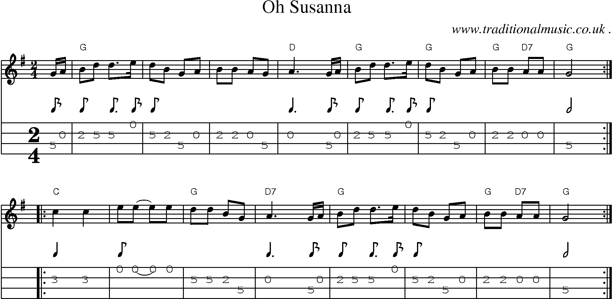 American Old-time music, Scores and Tabs for Mandolin - Oh Susanna