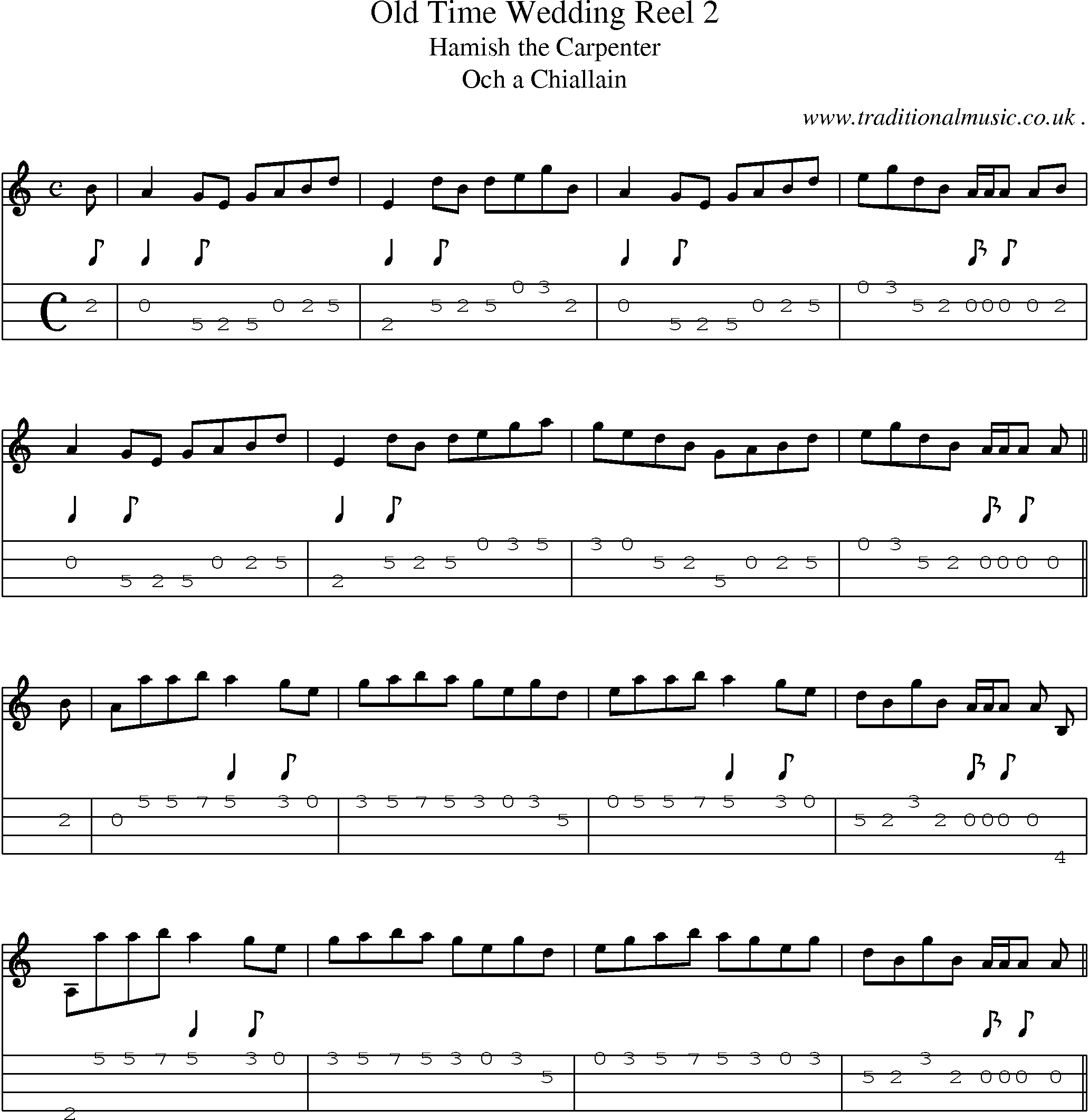 Music Score And Mandolin Tabs For Old Time Wedding Reel 2