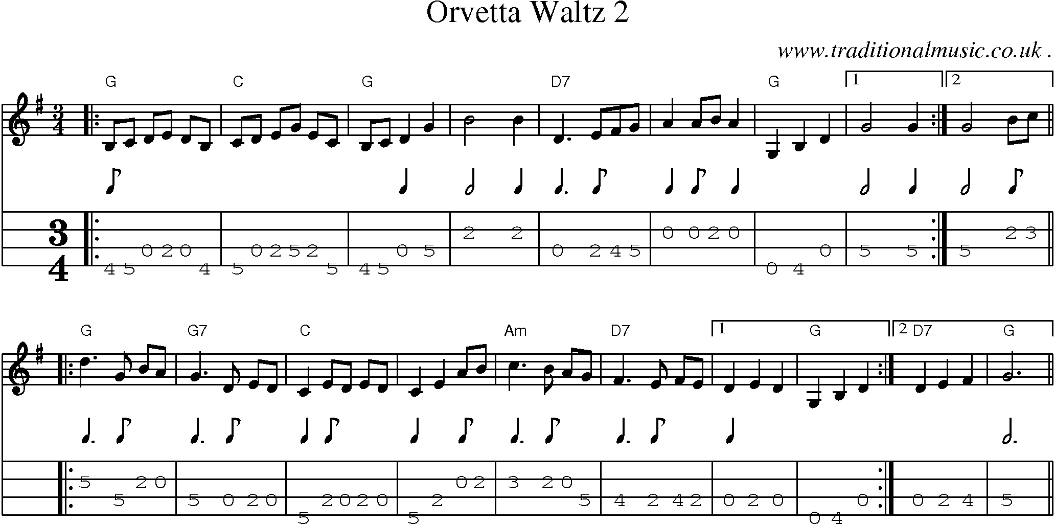 American Old-time music, Scores and Tabs for Mandolin - Orvetta Waltz 2