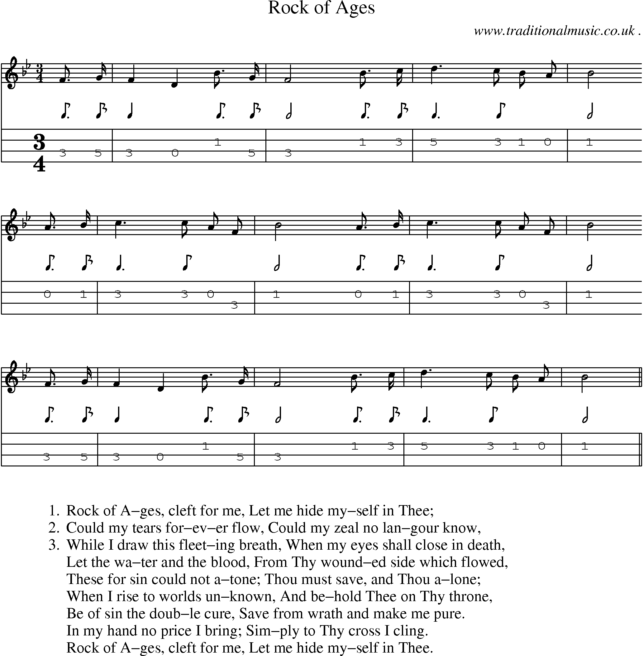American Old-time music, Scores and Tabs for Mandolin - Rock Of Ages