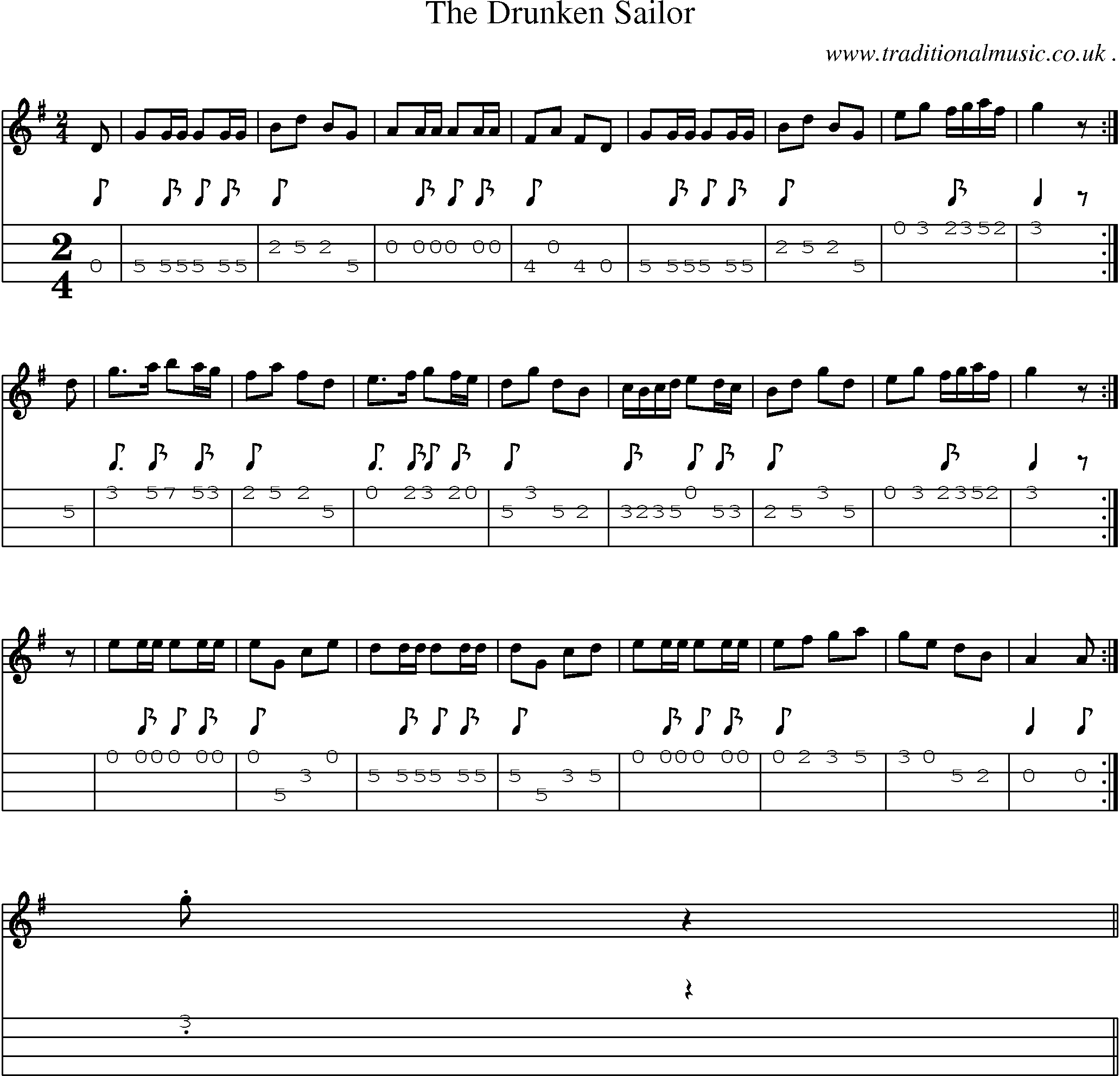 American Old-time music, Scores and Tabs for Mandolin - The Drunken Sailor
