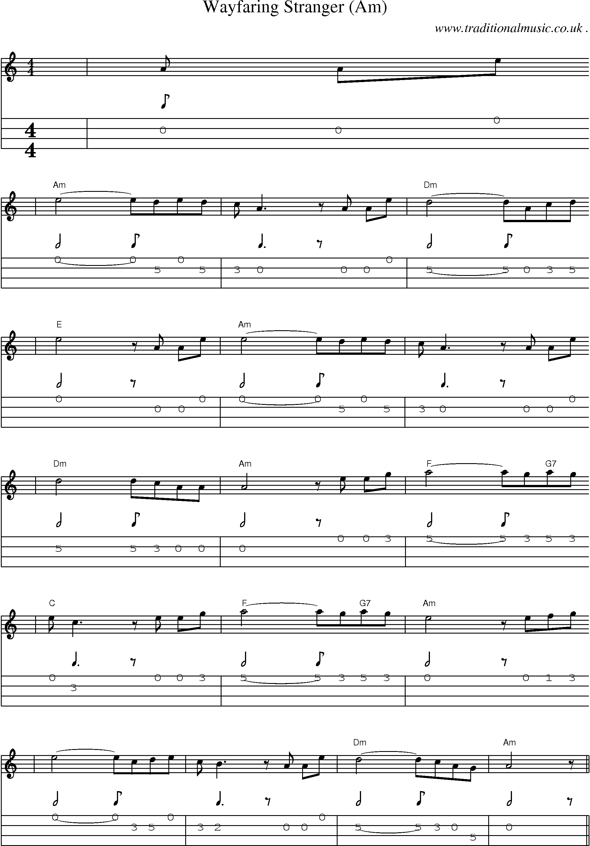 American Old-time music, Scores and Tabs for Mandolin - Wayfaring Stranger (am)