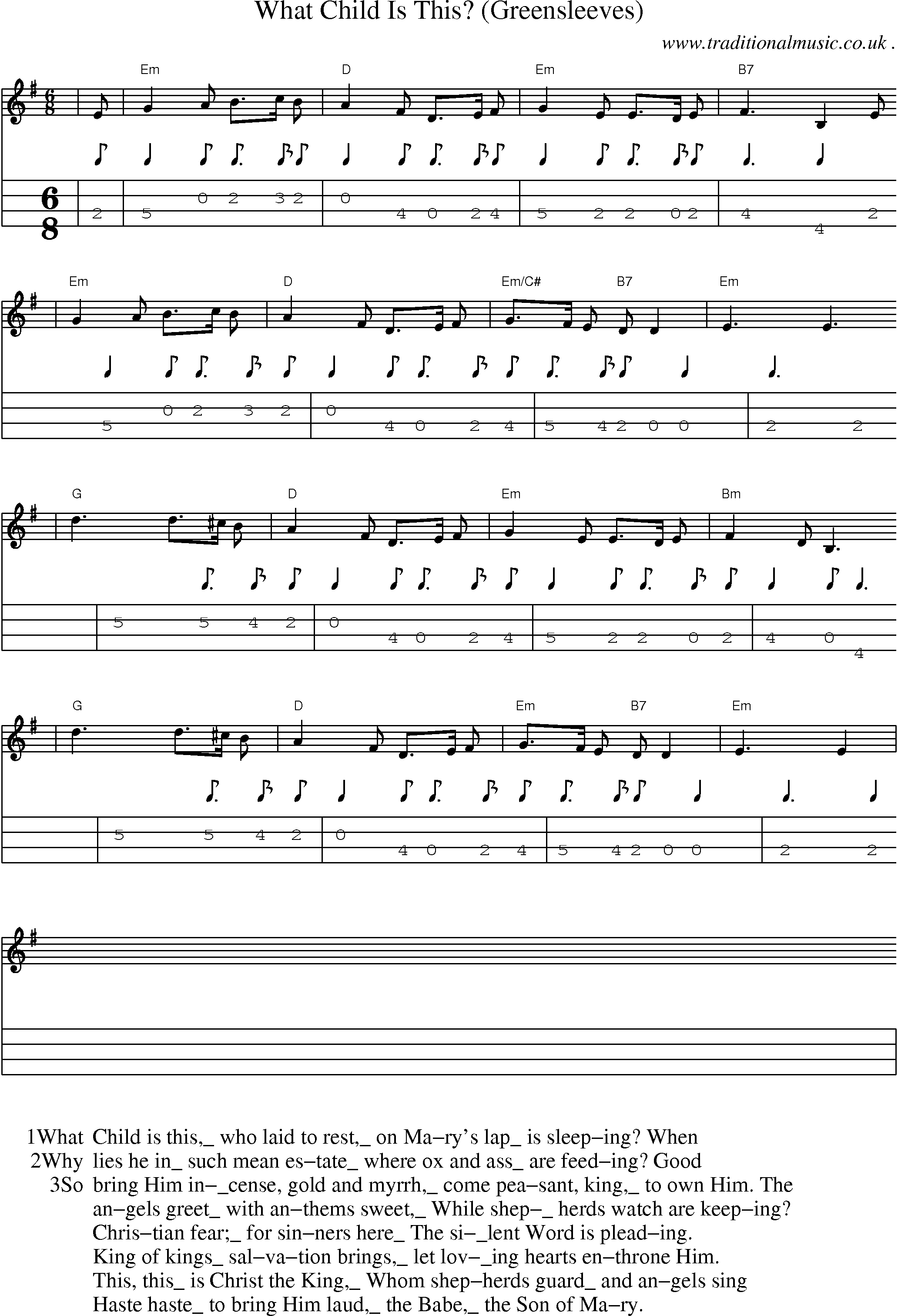 American Old-time music, Scores and Tabs for Mandolin - What Child Is This (greensleeves)