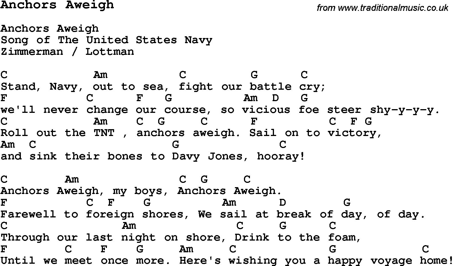 Anchors Aweigh Lyrics - YouTube