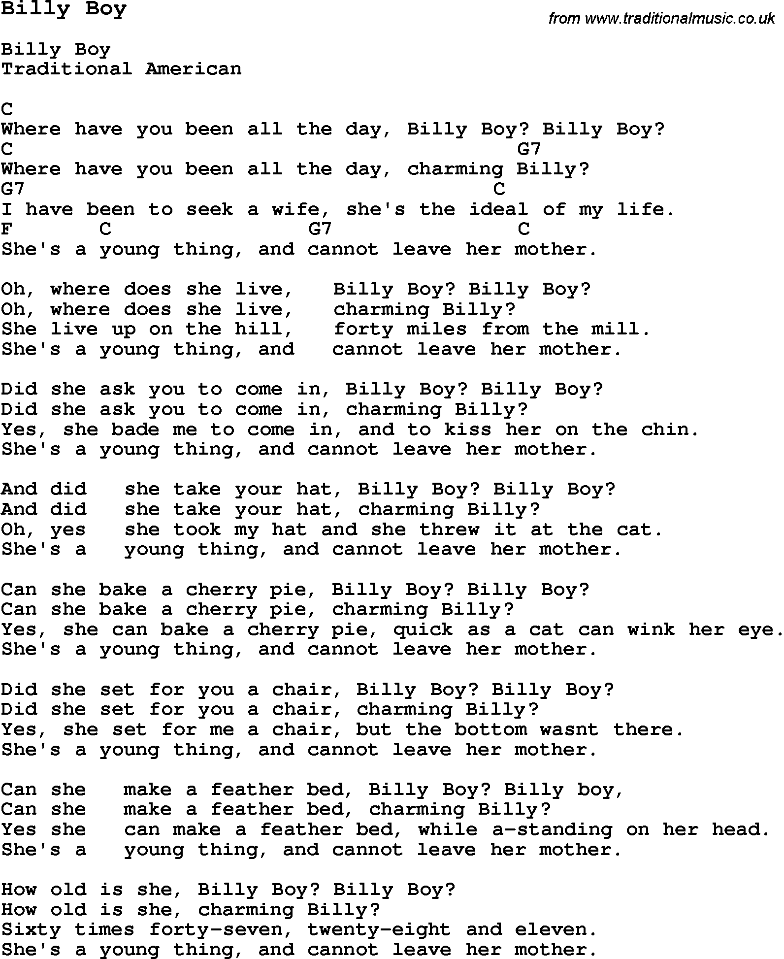 Traditional Song Billy Boy With Chords Tabs And Lyrics