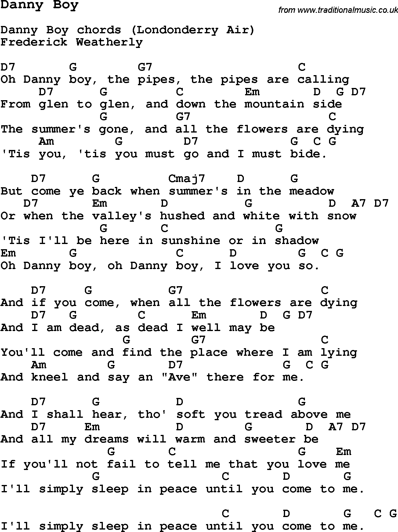 Traditional Song Danny Boy with Chords, Tabs and Lyrics