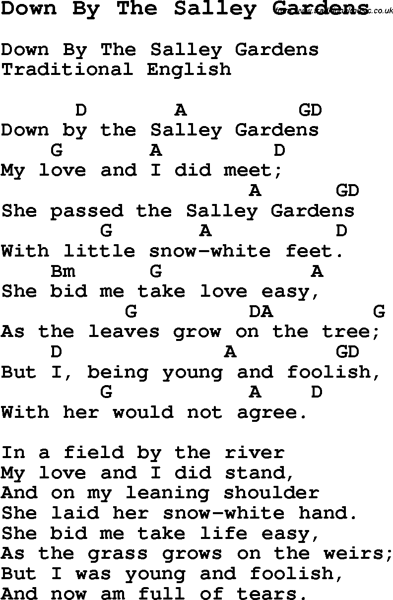 traditional song down by the salley gardens with chords tabs and lyrics