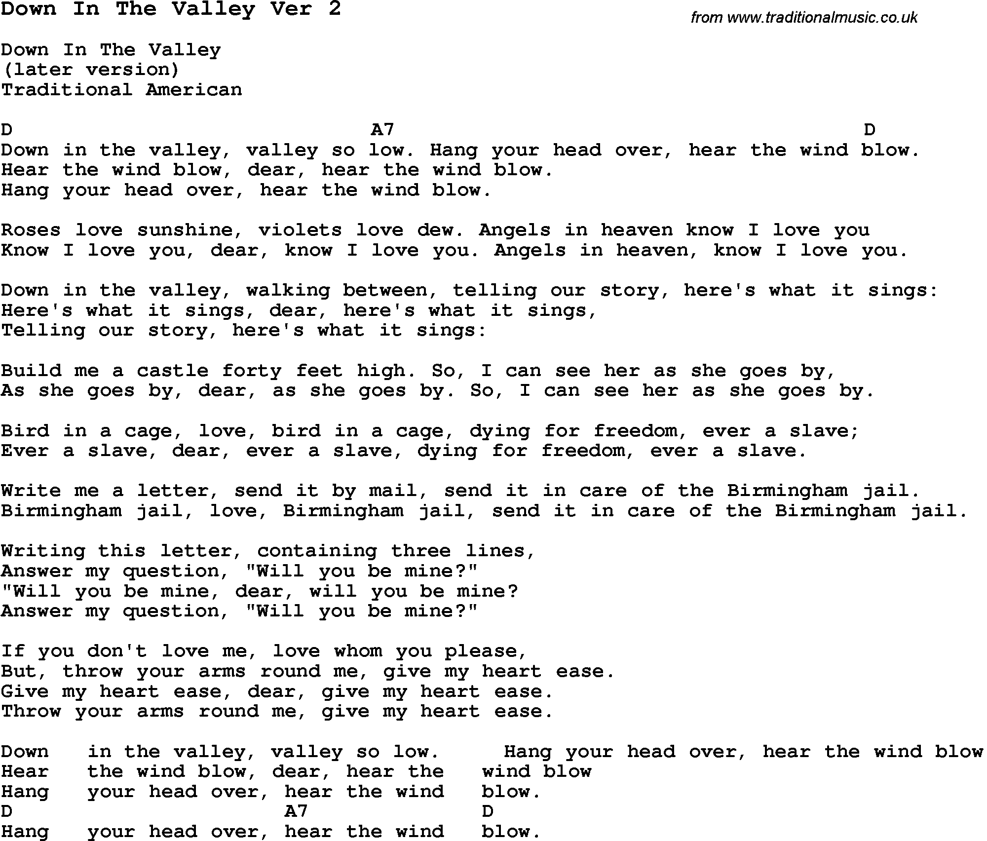 Traditional Song Down In The Valley Ver 15 with Chords, Tabs and Lyrics