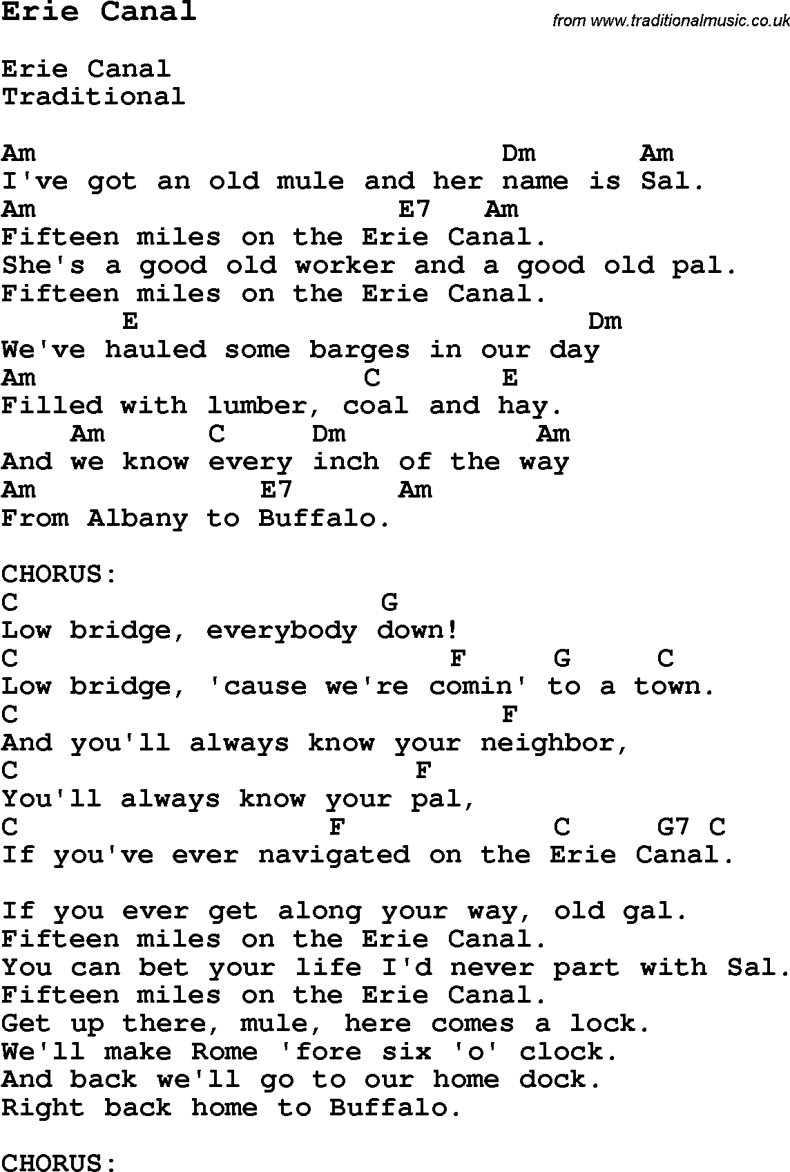 Bruce Springsteen – Erie Canal Lyrics | Genius Lyrics