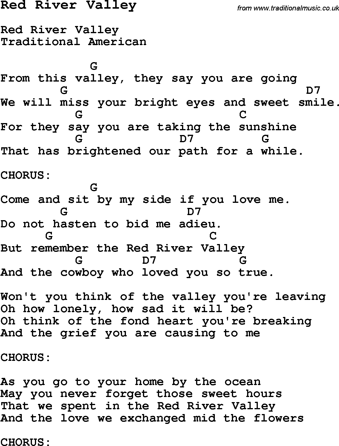 Traditional Song Red River Valley With Chords Tabs And Lyrics