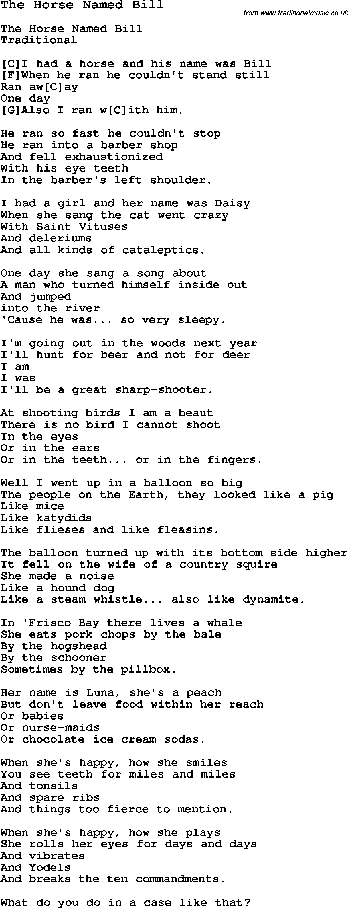 Traditional Song The Horse Named Bill With Chords Tabs And Lyrics