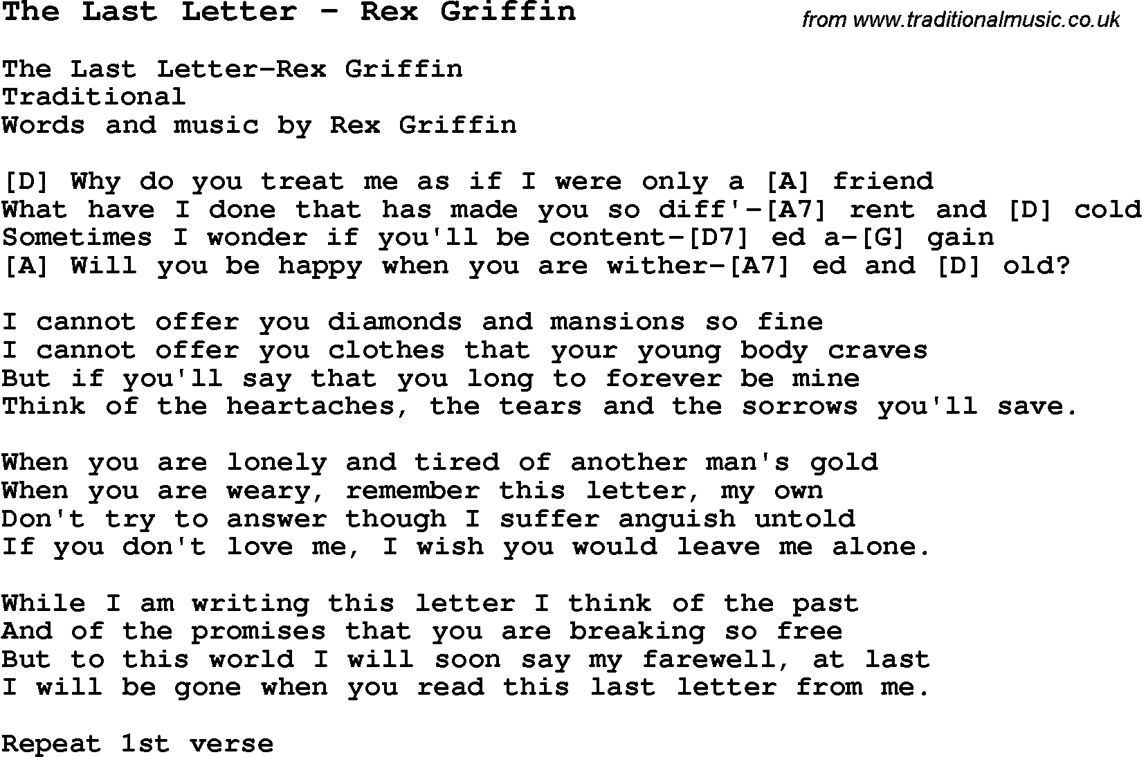 ... Song The Last Letter - Rex Griffin with Chords, Tabs and Lyrics