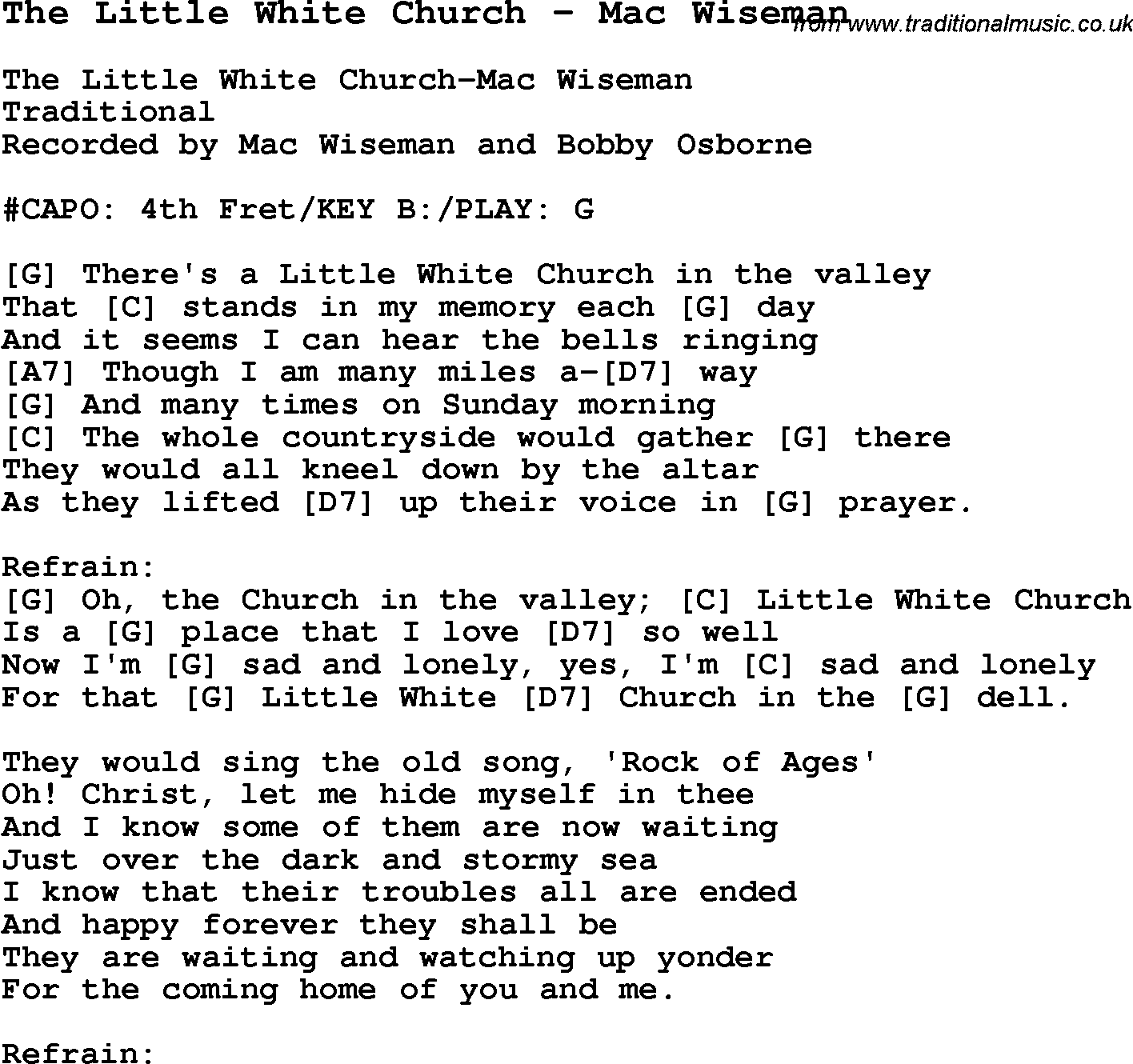 Song the little white church mac wiseman with chords tabs and traditional song the little white church mac wiseman with chords tabs and lyrics hexwebz Images