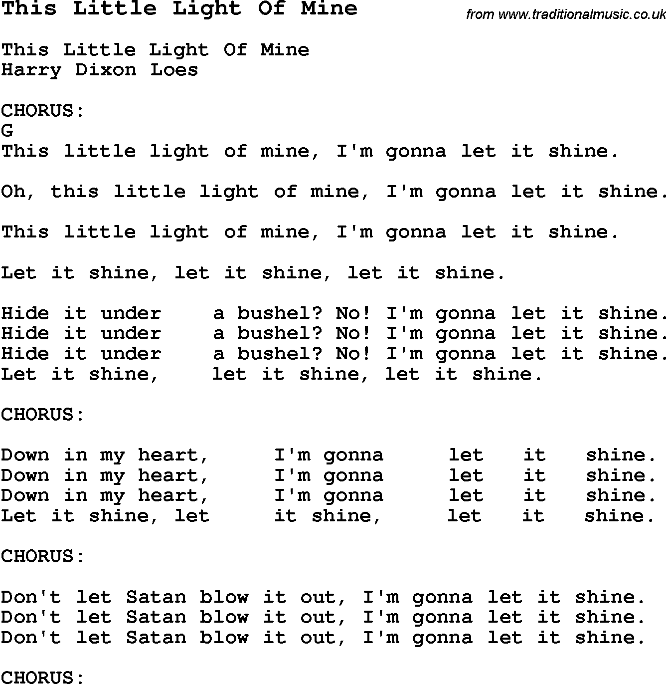 Song this little light of mine with chords tabs and lyrics traditional song this little light of mine with chords tabs and lyrics hexwebz Gallery