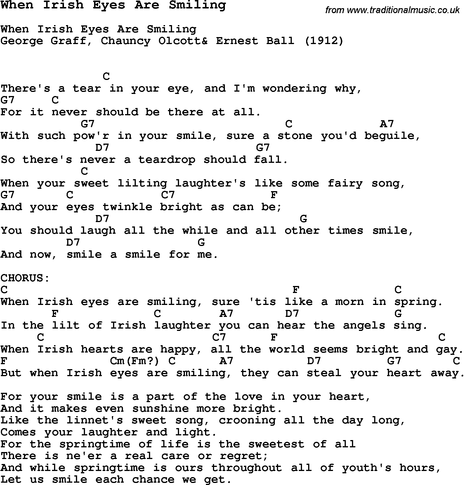 Guitar Chords And Lyrics For Beginners Irish Songs: NEW SONG LYRICS FOR WHEN IRISH EYES ARE SMILING